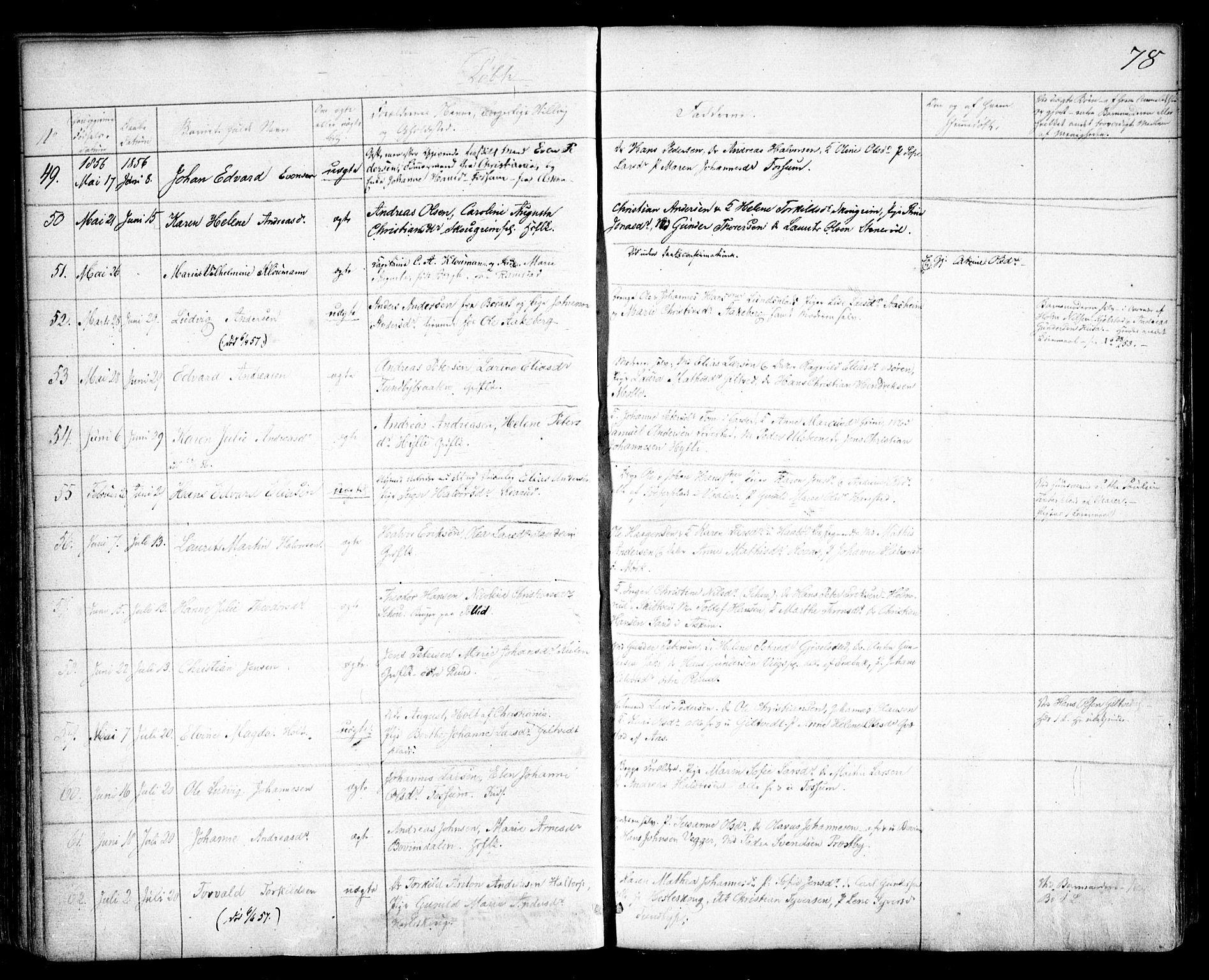 SAO, Spydeberg prestekontor Kirkebøker, F/Fa/L0005: Ministerialbok nr. I 5, 1842-1862, s. 78
