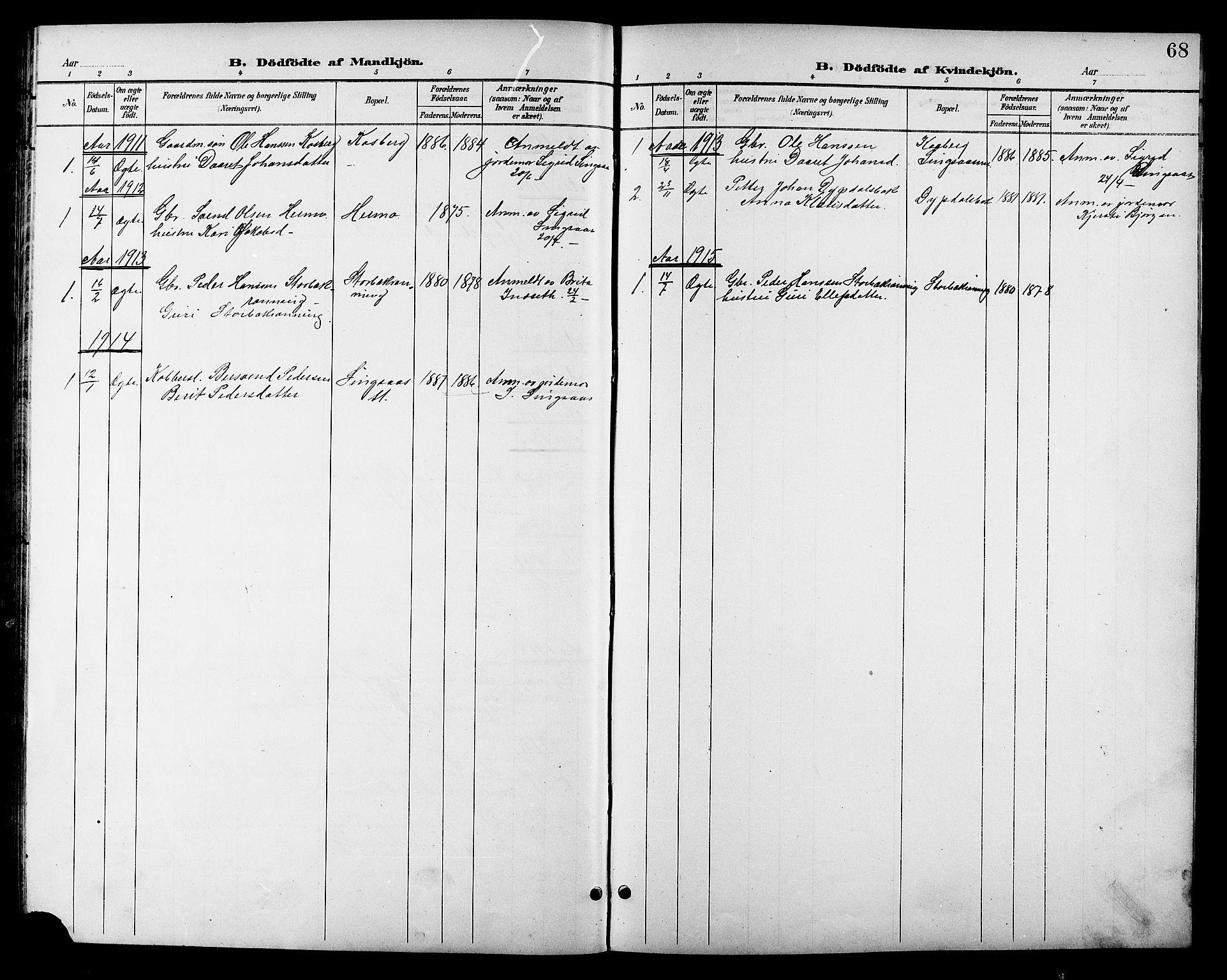 SAT, Ministerialprotokoller, klokkerbøker og fødselsregistre - Sør-Trøndelag, 688/L1029: Klokkerbok nr. 688C04, 1899-1915, s. 68