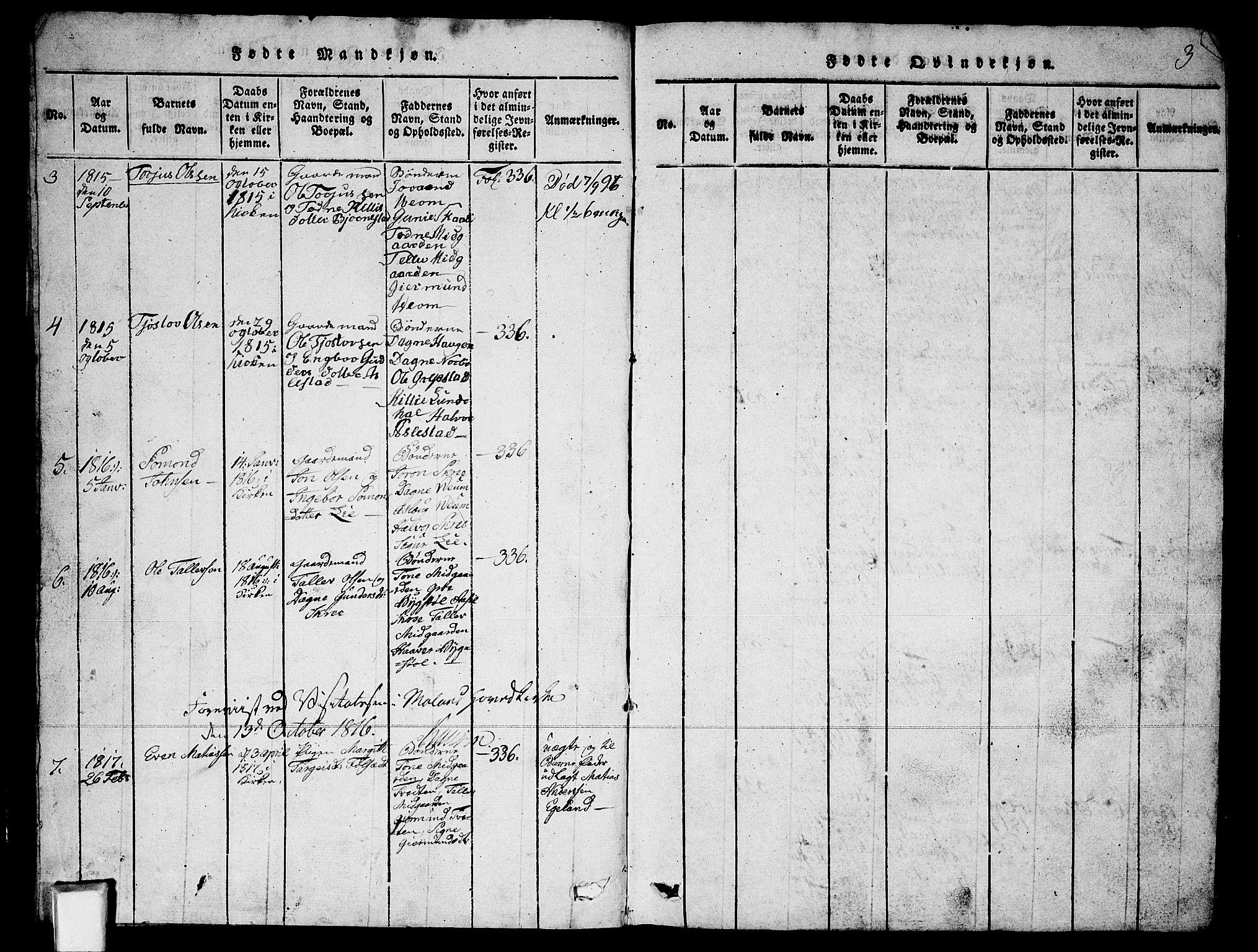 SAKO, Fyresdal kirkebøker, G/Ga/L0003: Klokkerbok nr. I 3, 1815-1863, s. 3