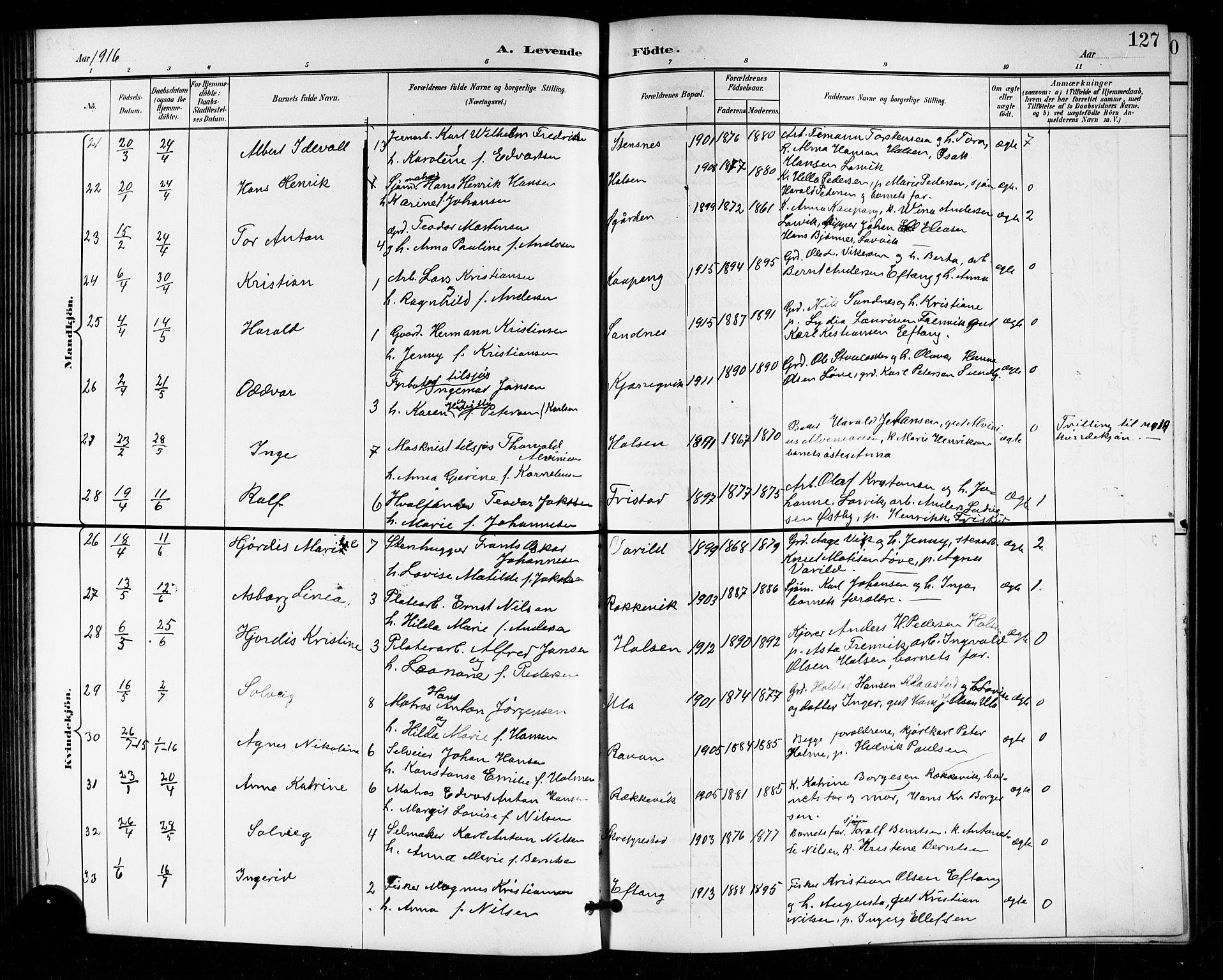 SAKO, Tjølling kirkebøker, G/Ga/L0002: Klokkerbok nr. 2, 1895-1918, s. 127