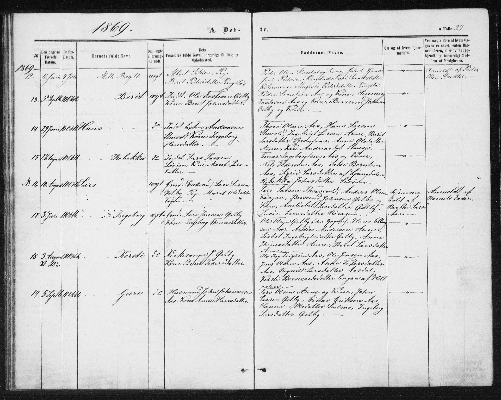 SAT, Ministerialprotokoller, klokkerbøker og fødselsregistre - Sør-Trøndelag, 698/L1166: Klokkerbok nr. 698C03, 1861-1887, s. 27