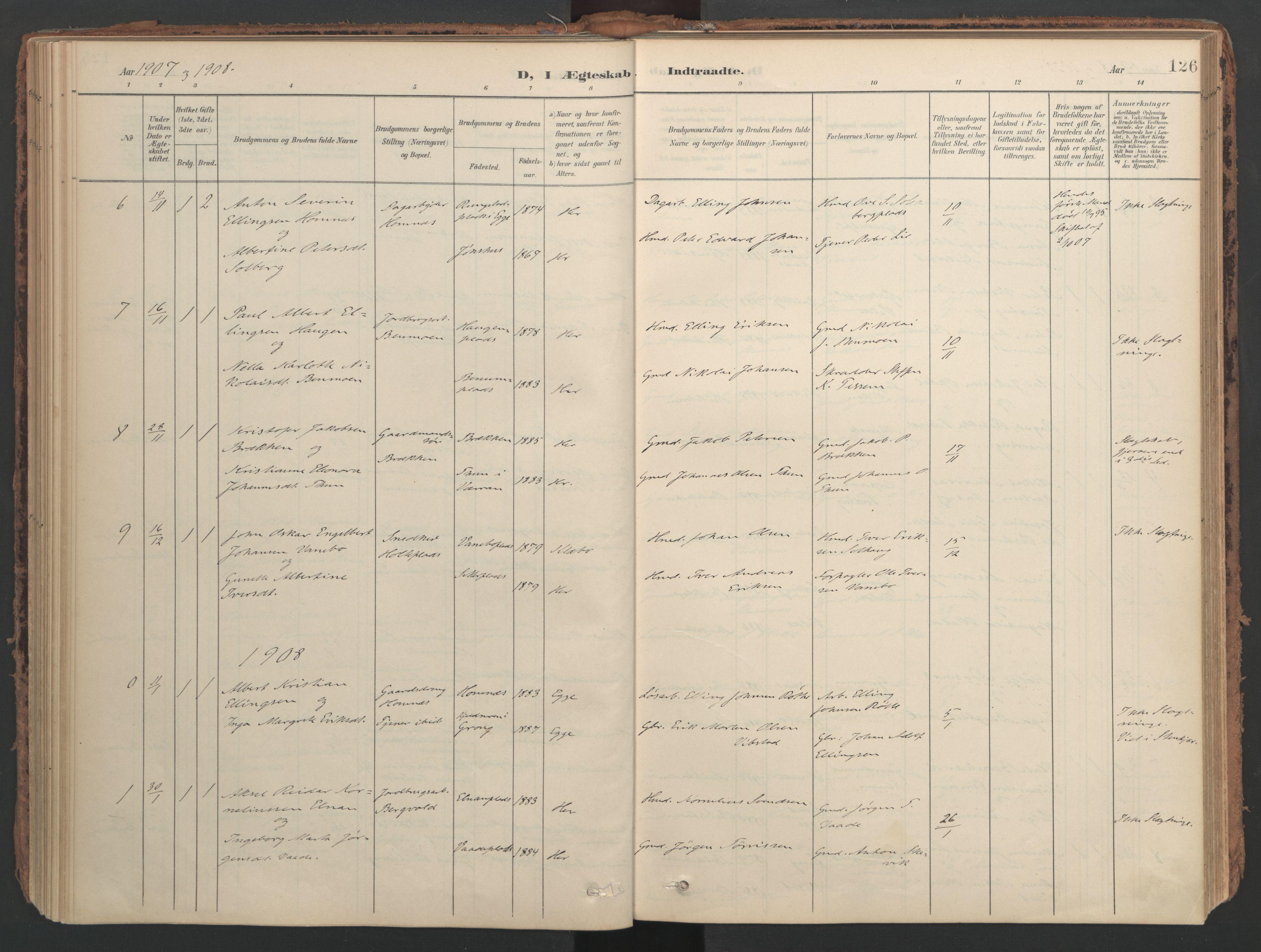 SAT, Ministerialprotokoller, klokkerbøker og fødselsregistre - Nord-Trøndelag, 741/L0397: Ministerialbok nr. 741A11, 1901-1911, s. 126