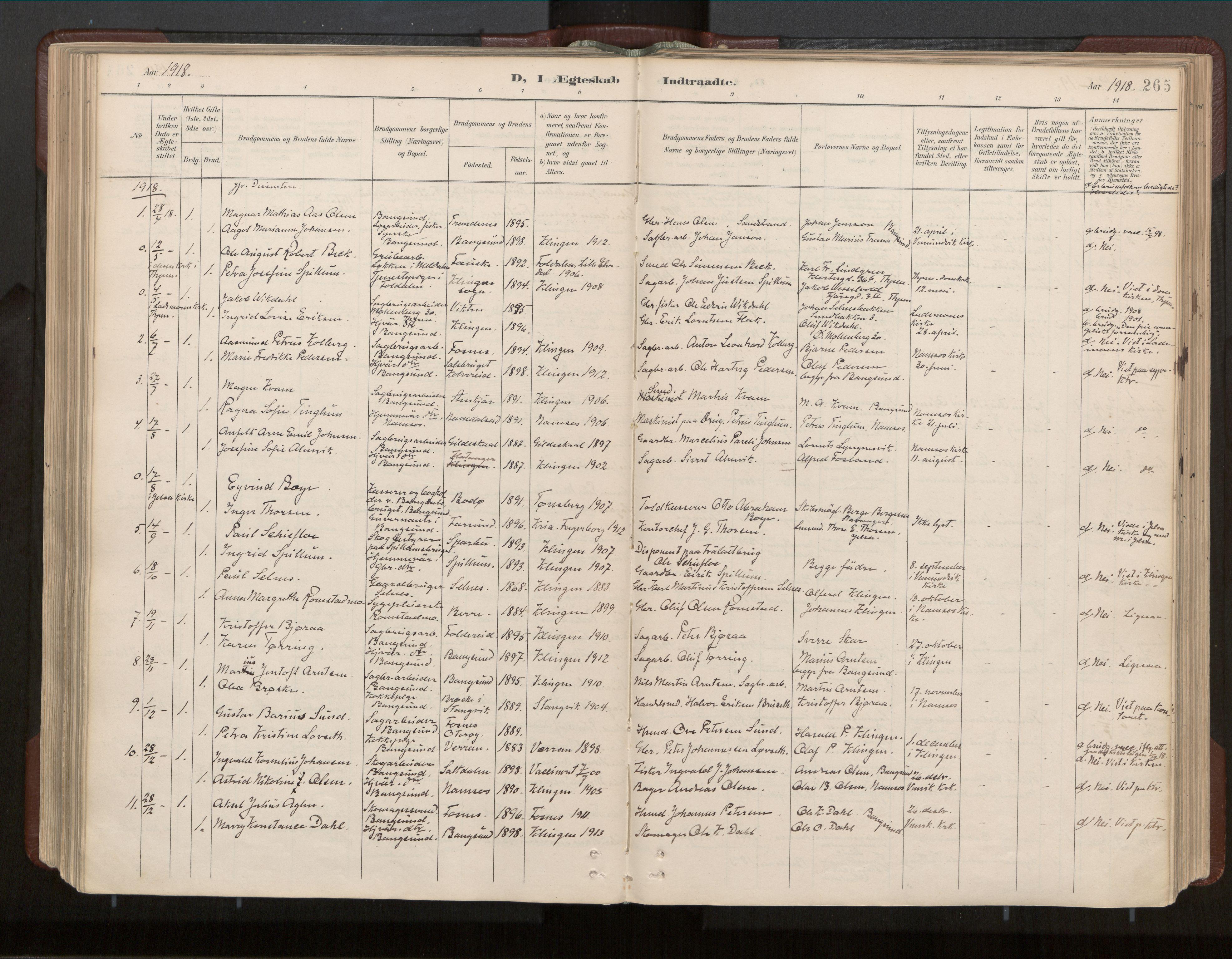 SAT, Ministerialprotokoller, klokkerbøker og fødselsregistre - Nord-Trøndelag, 770/L0589: Ministerialbok nr. 770A03, 1887-1929, s. 265