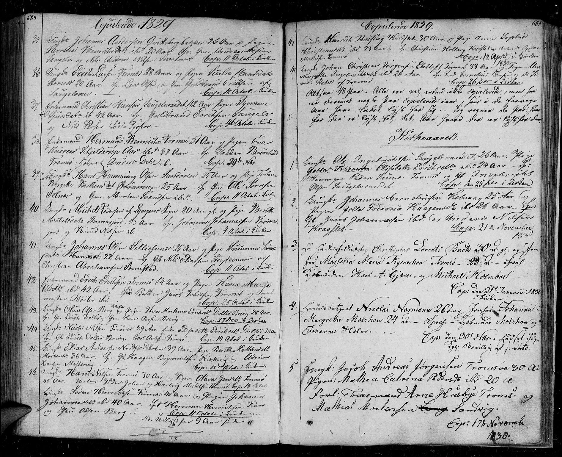 SATØ, Tromsø sokneprestkontor/stiftsprosti/domprosti, G/Ga/L0008kirke: Ministerialbok nr. 8, 1829-1837, s. 684-685