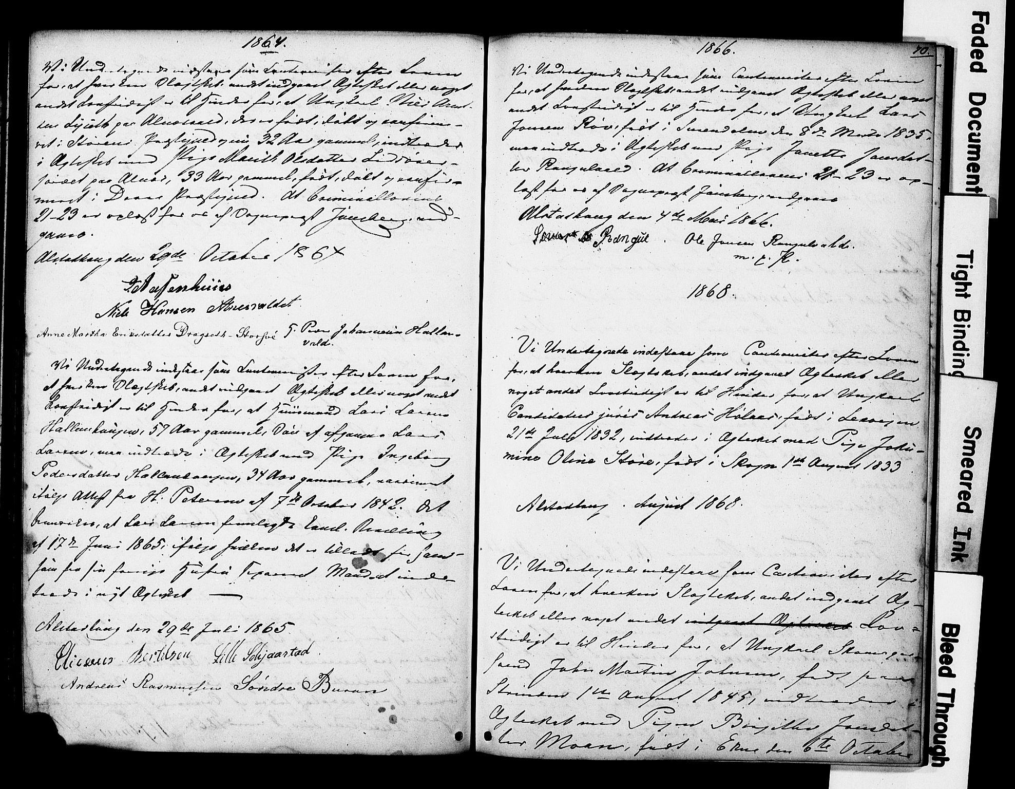 SAT, Ministerialprotokoller, klokkerbøker og fødselsregistre - Nord-Trøndelag, 717/L0161: Forlovererklæringer nr. 717A11, 1850-1895, s. 70