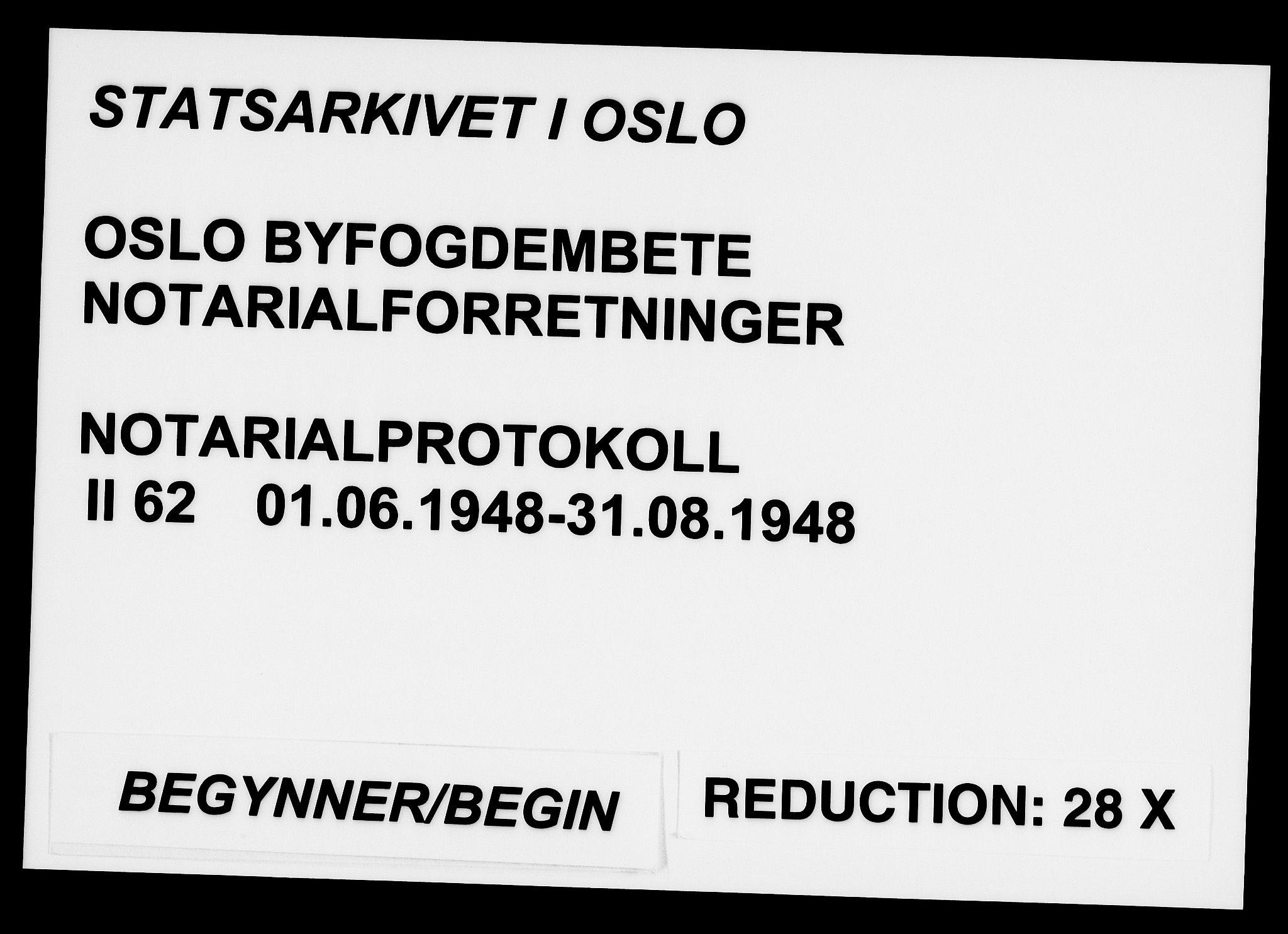 SAO, Oslo byfogd avd. I, L/Lb/Lbb/L0062: Notarialprotokoll, rekke II: Vigsler, 1948, s. upaginert