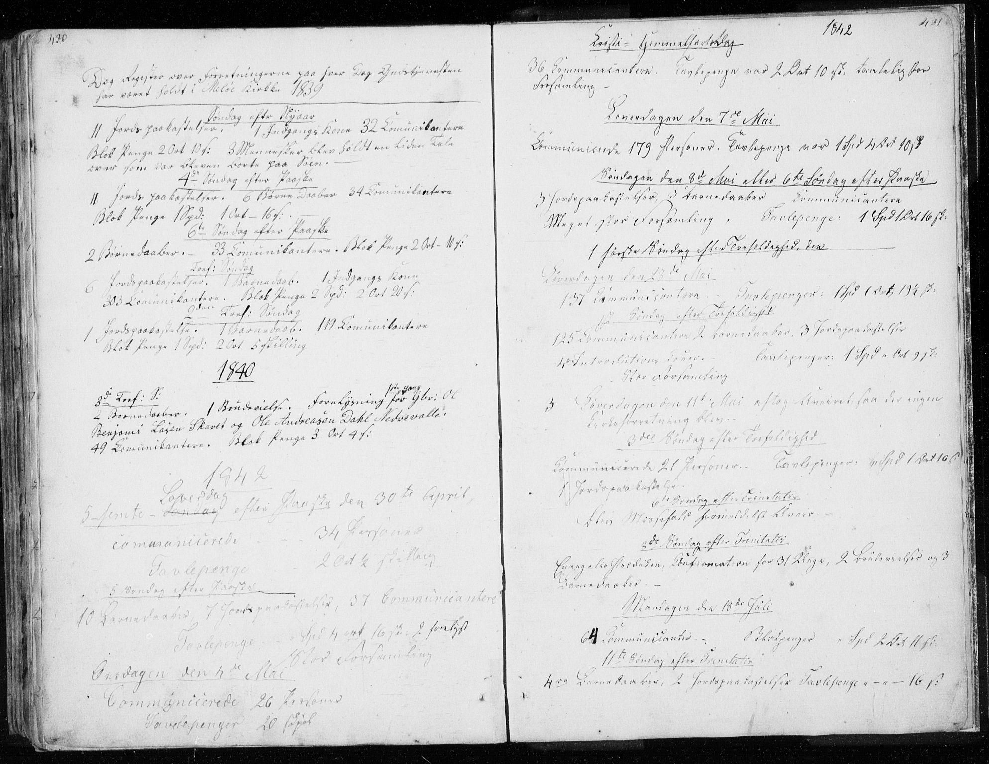 SAT, Ministerialprotokoller, klokkerbøker og fødselsregistre - Nordland, 843/L0632: Klokkerbok nr. 843C01, 1833-1853, s. 430-431