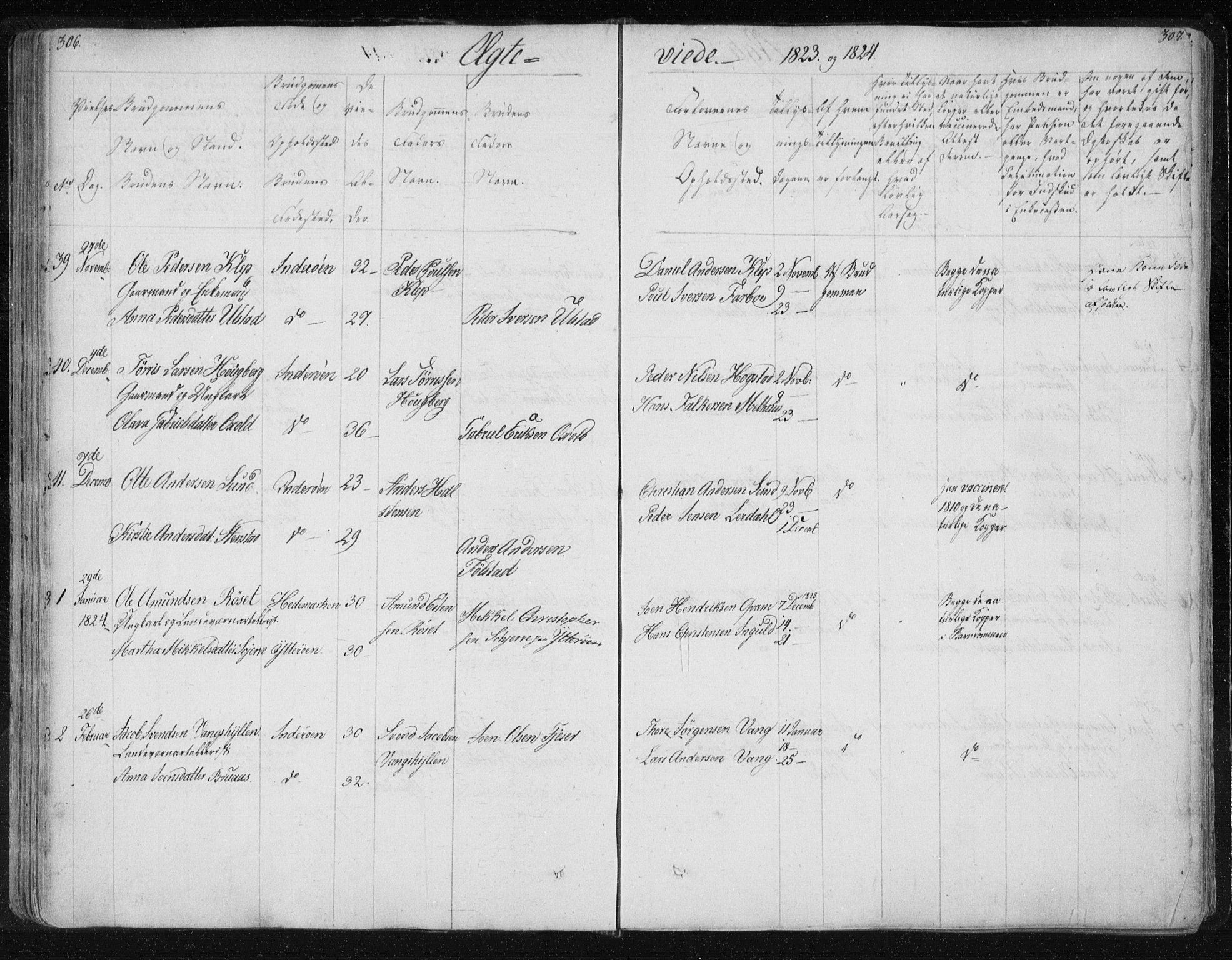 SAT, Ministerialprotokoller, klokkerbøker og fødselsregistre - Nord-Trøndelag, 730/L0276: Ministerialbok nr. 730A05, 1822-1830, s. 306-307