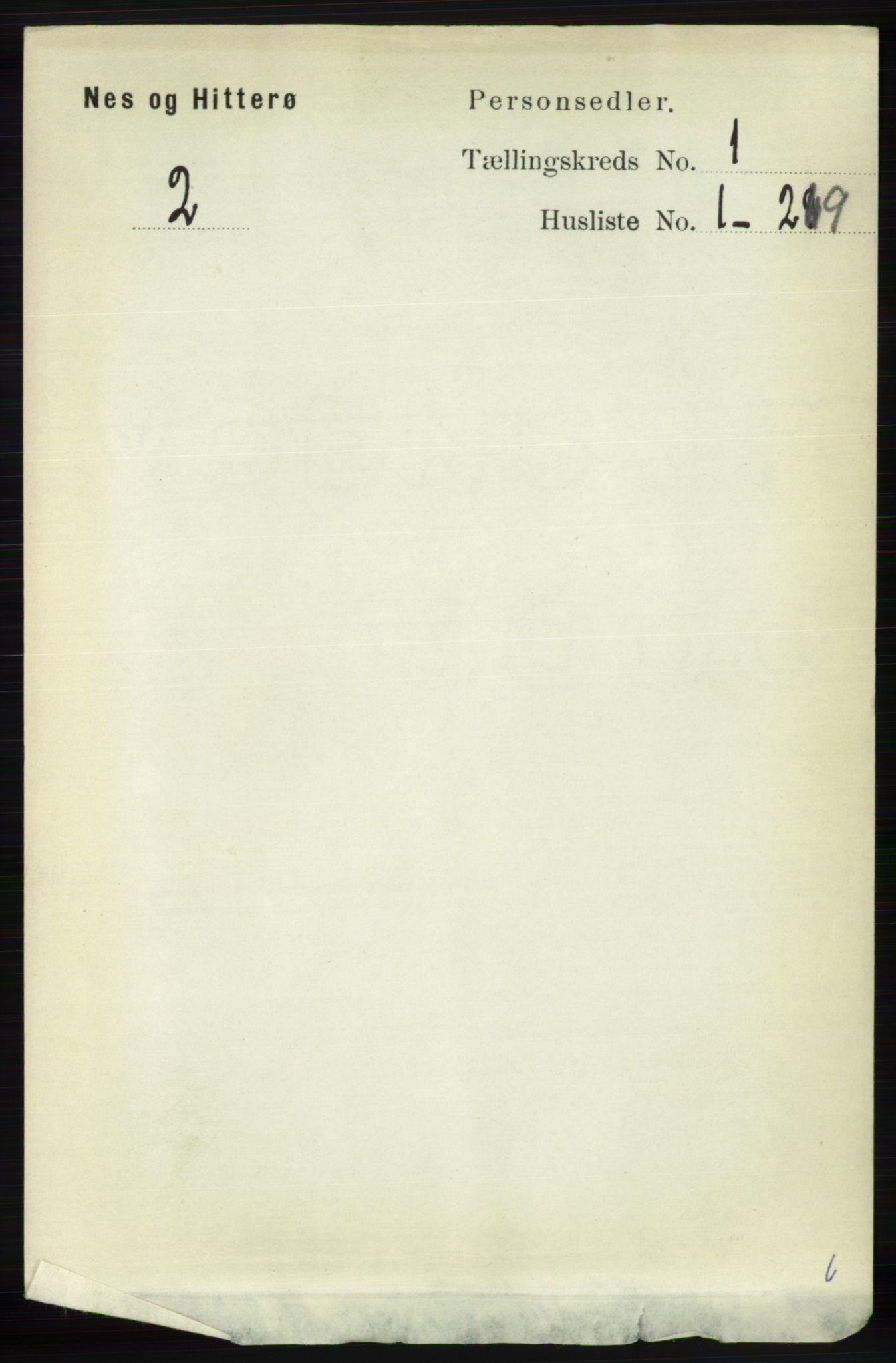 RA, Folketelling 1891 for 1043 Hidra og Nes herred, 1891, s. 97