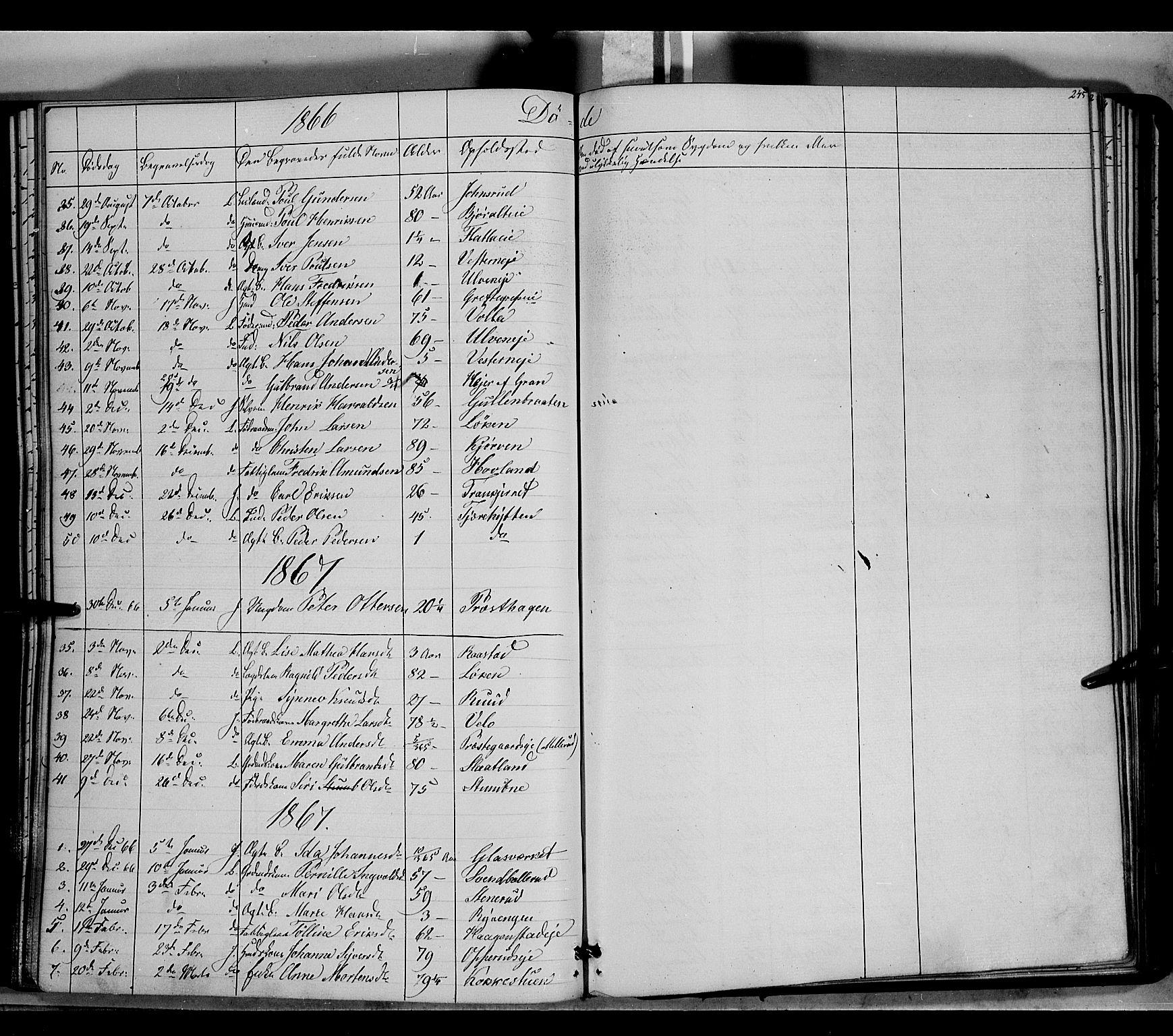 SAH, Jevnaker prestekontor, Ministerialbok nr. 7, 1858-1876, s. 245