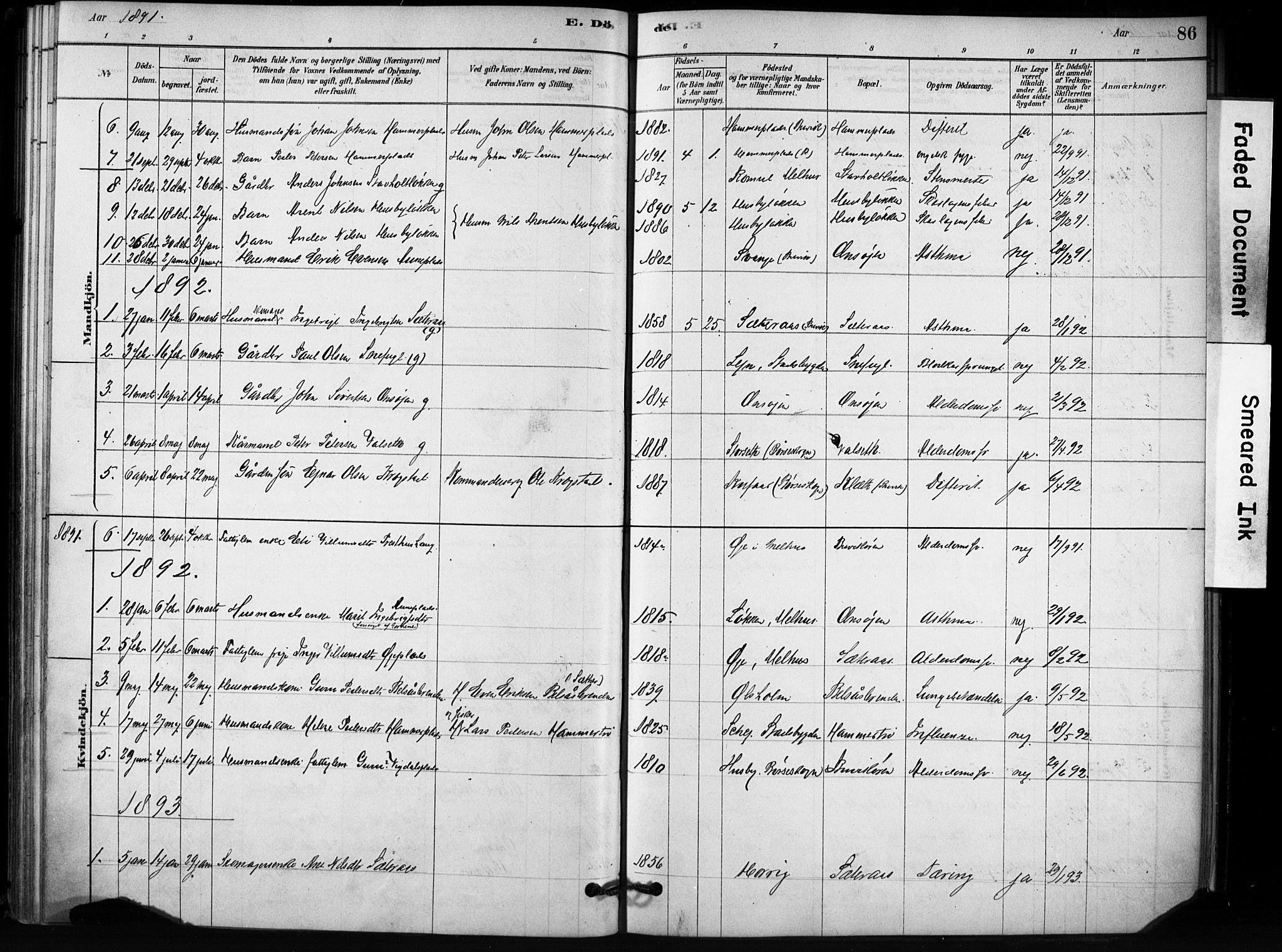 SAT, Ministerialprotokoller, klokkerbøker og fødselsregistre - Sør-Trøndelag, 666/L0786: Ministerialbok nr. 666A04, 1878-1895, s. 86
