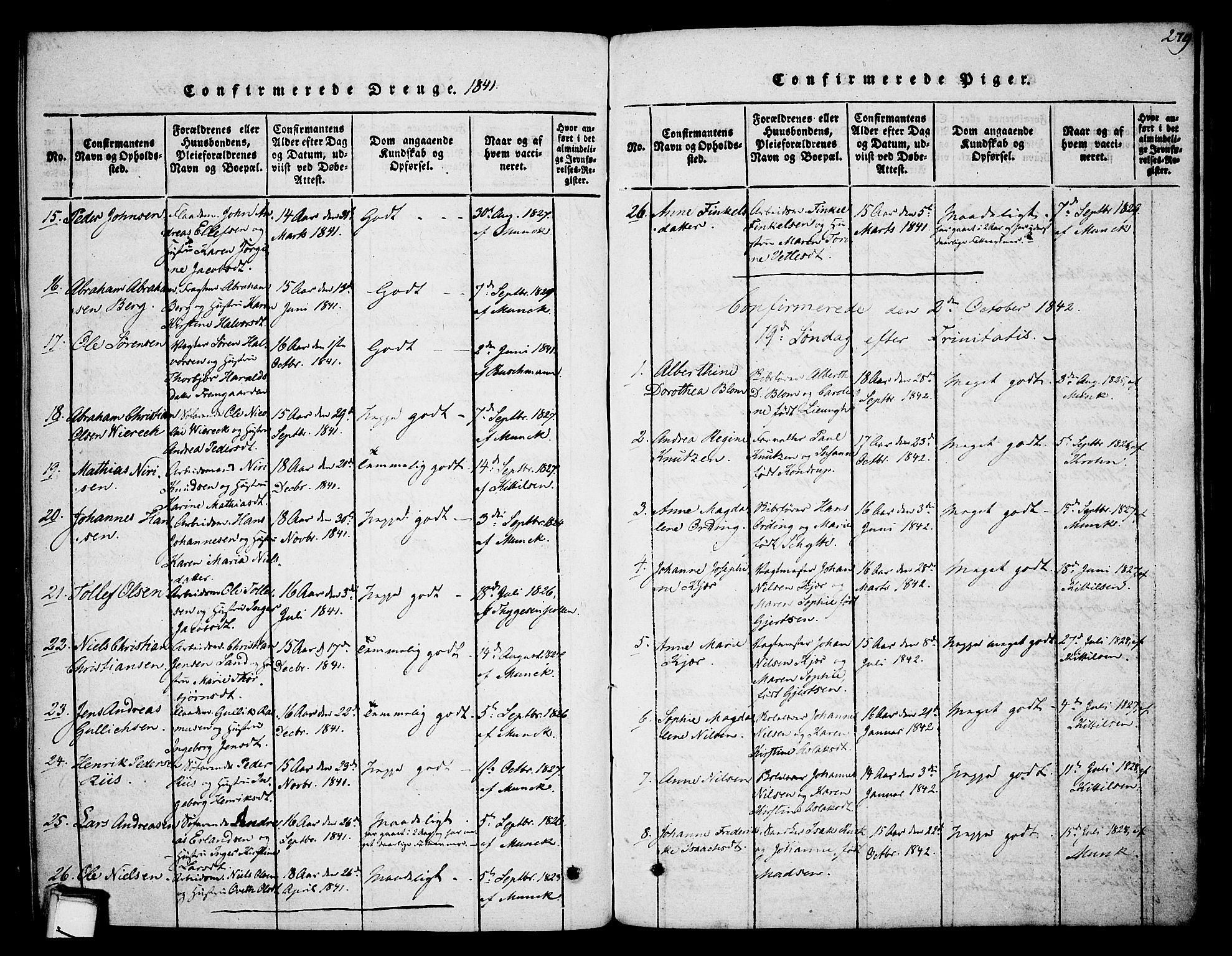 SAKO, Skien kirkebøker, F/Fa/L0005: Ministerialbok nr. 5, 1814-1843, s. 279