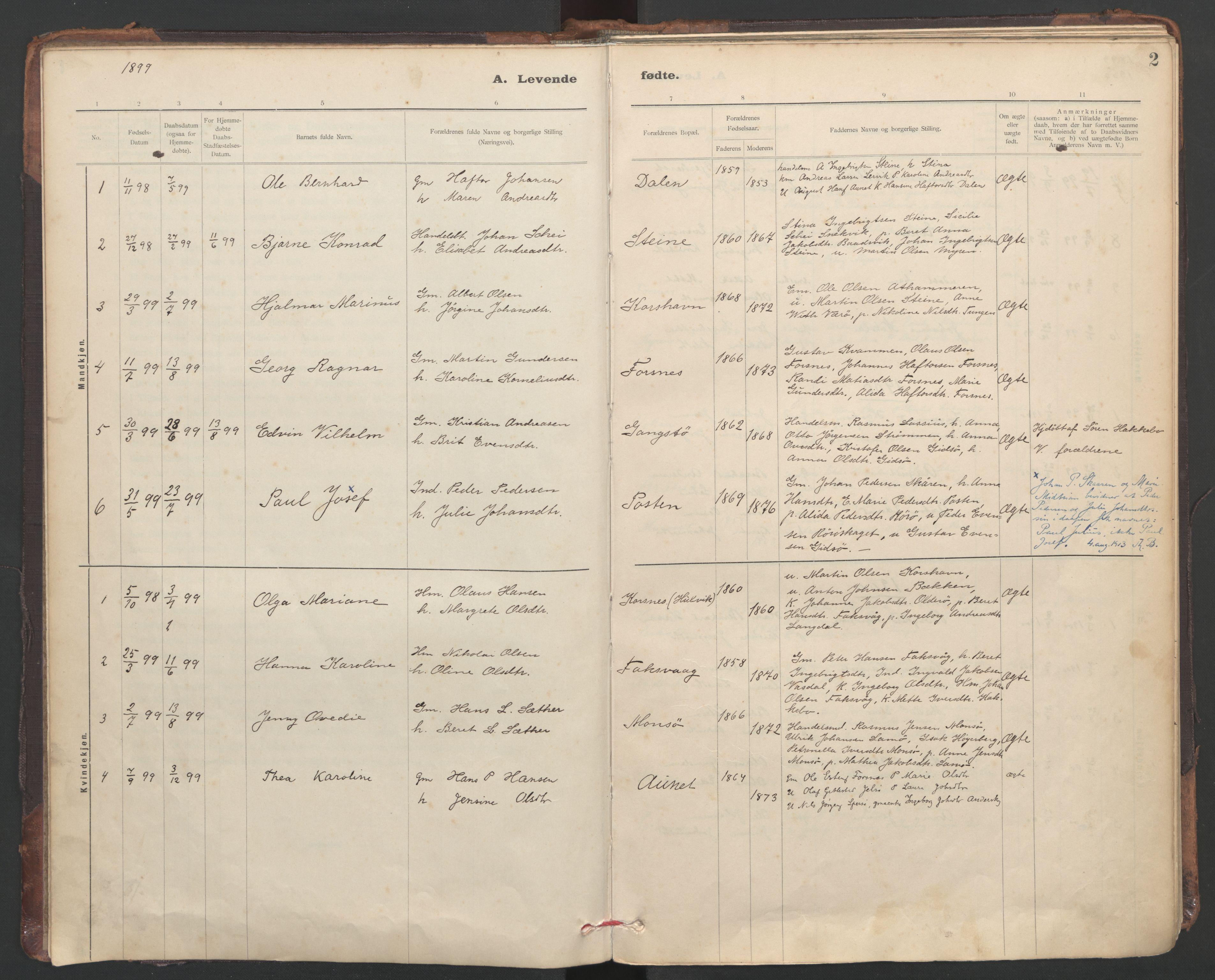 SAT, Ministerialprotokoller, klokkerbøker og fødselsregistre - Sør-Trøndelag, 635/L0552: Ministerialbok nr. 635A02, 1899-1919, s. 2