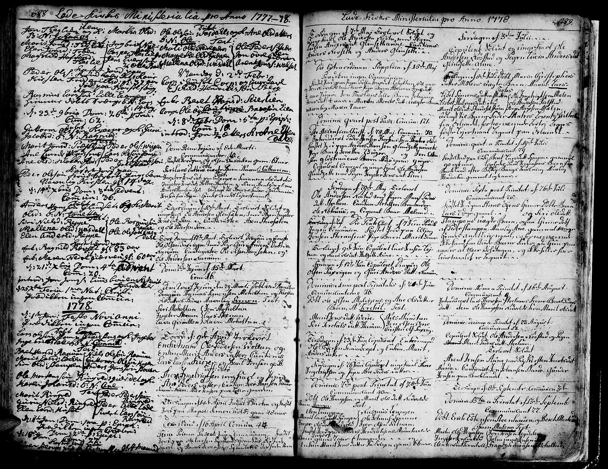 SAT, Ministerialprotokoller, klokkerbøker og fødselsregistre - Sør-Trøndelag, 606/L0275: Ministerialbok nr. 606A01 /1, 1727-1780, s. 688-689