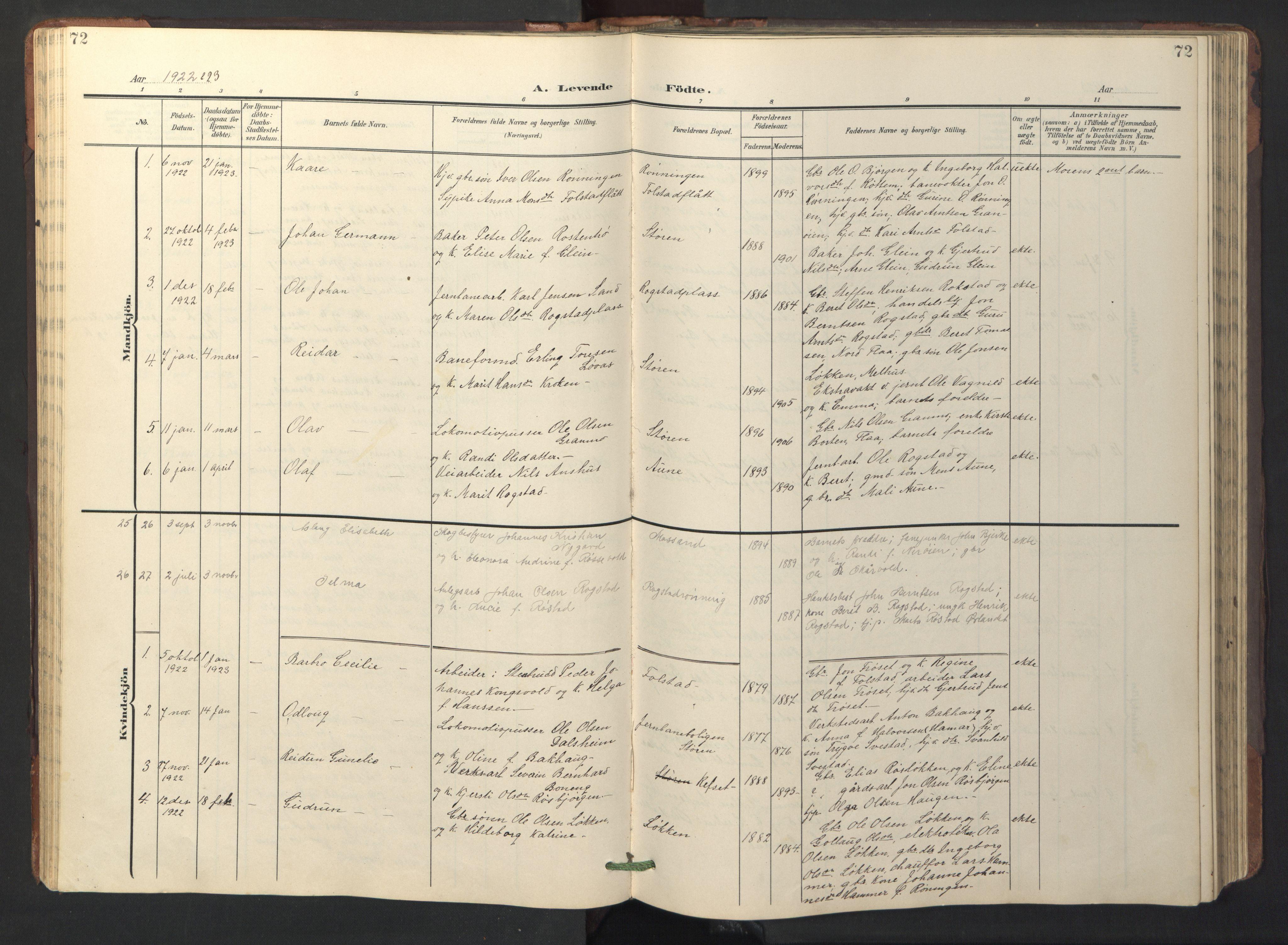 SAT, Ministerialprotokoller, klokkerbøker og fødselsregistre - Sør-Trøndelag, 687/L1019: Klokkerbok nr. 687C03, 1904-1931, s. 72