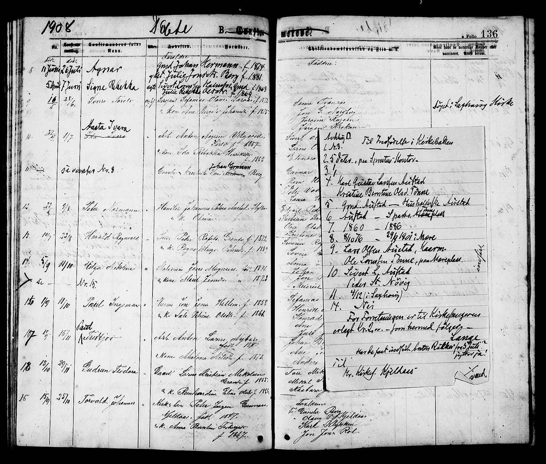 SAT, Ministerialprotokoller, klokkerbøker og fødselsregistre - Nord-Trøndelag, 731/L0311: Klokkerbok nr. 731C02, 1875-1911, s. 136