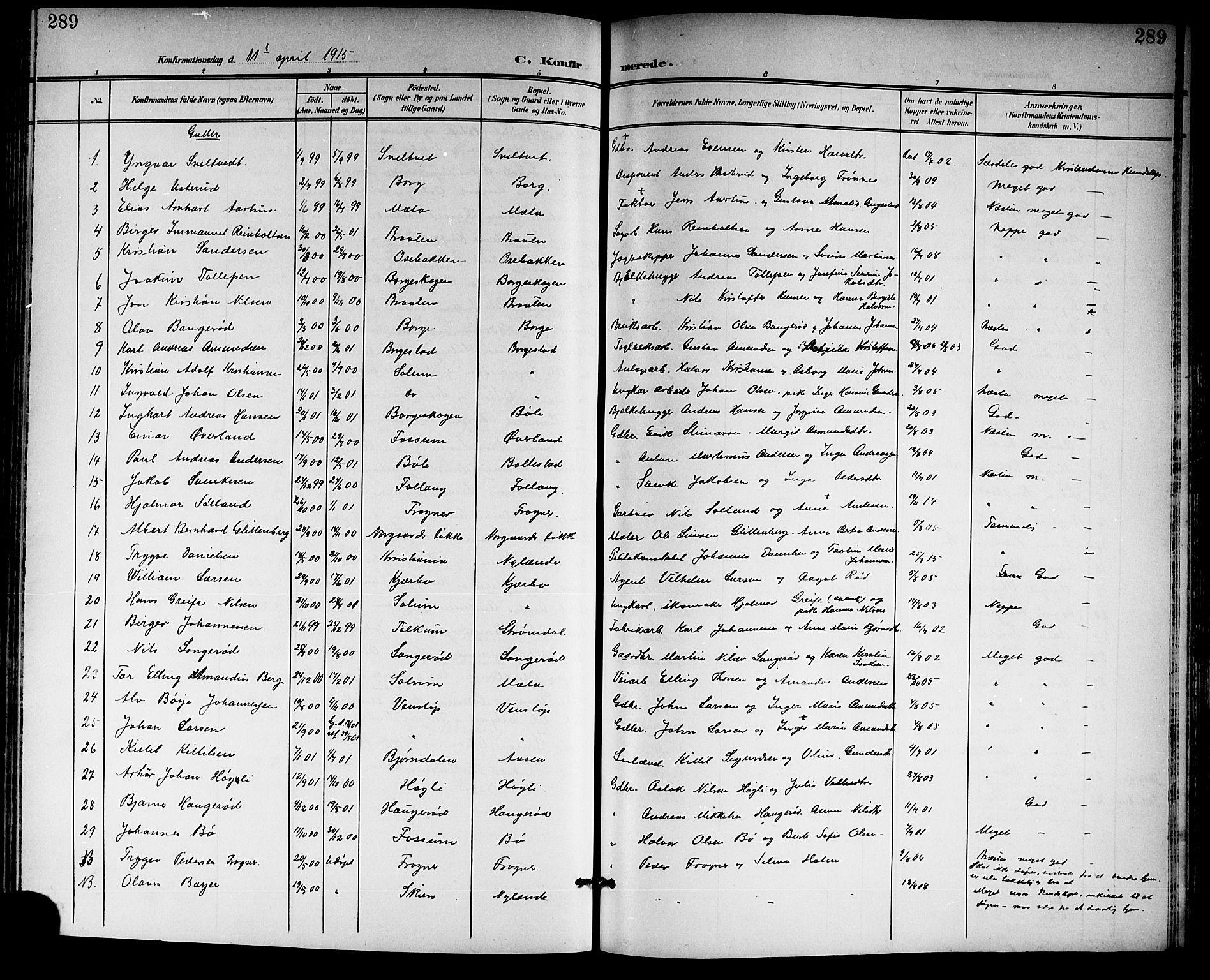 SAKO, Gjerpen kirkebøker, G/Ga/L0003: Klokkerbok nr. I 3, 1901-1919, s. 289