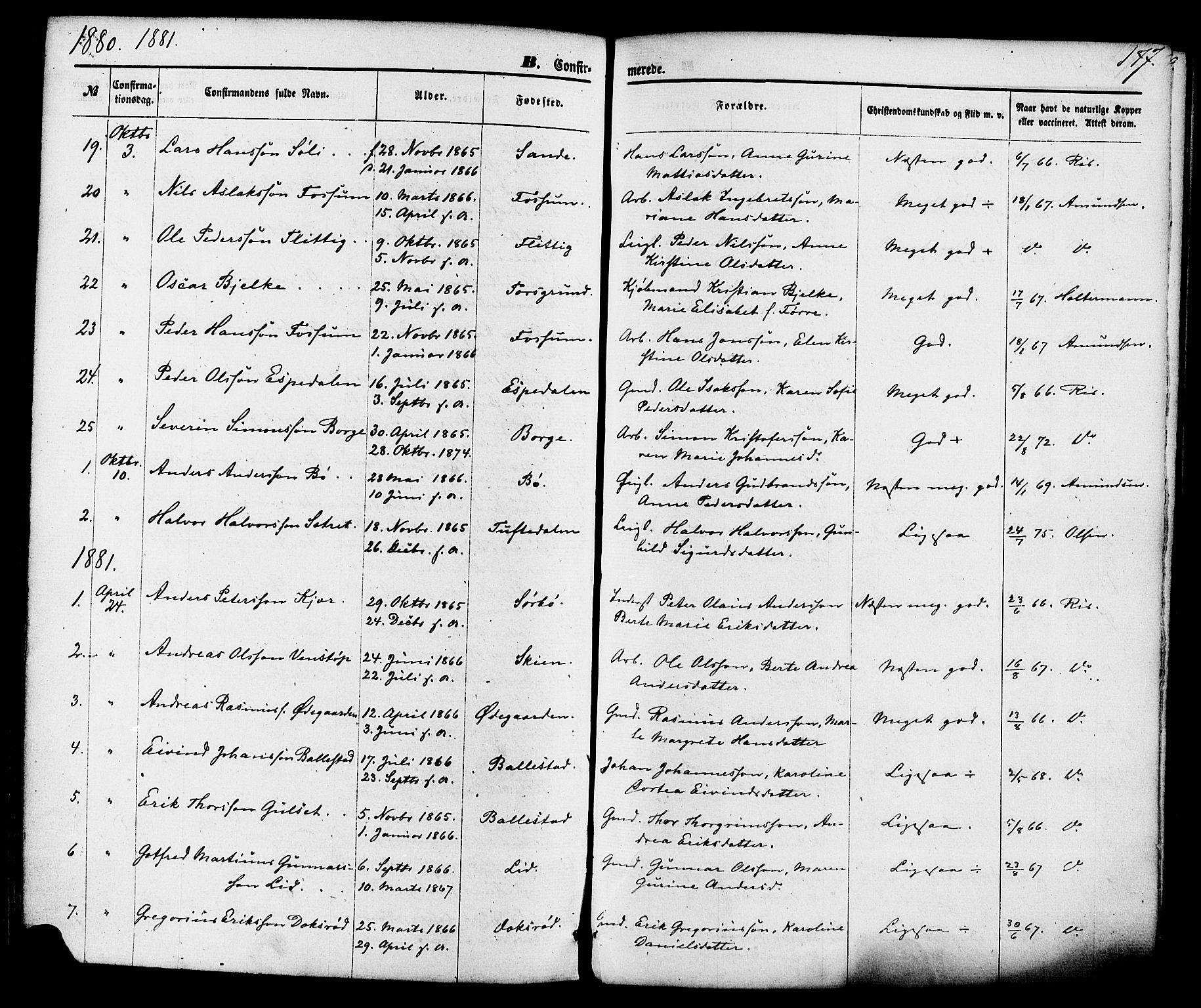 SAKO, Gjerpen kirkebøker, F/Fa/L0009: Ministerialbok nr. 9, 1872-1885, s. 177