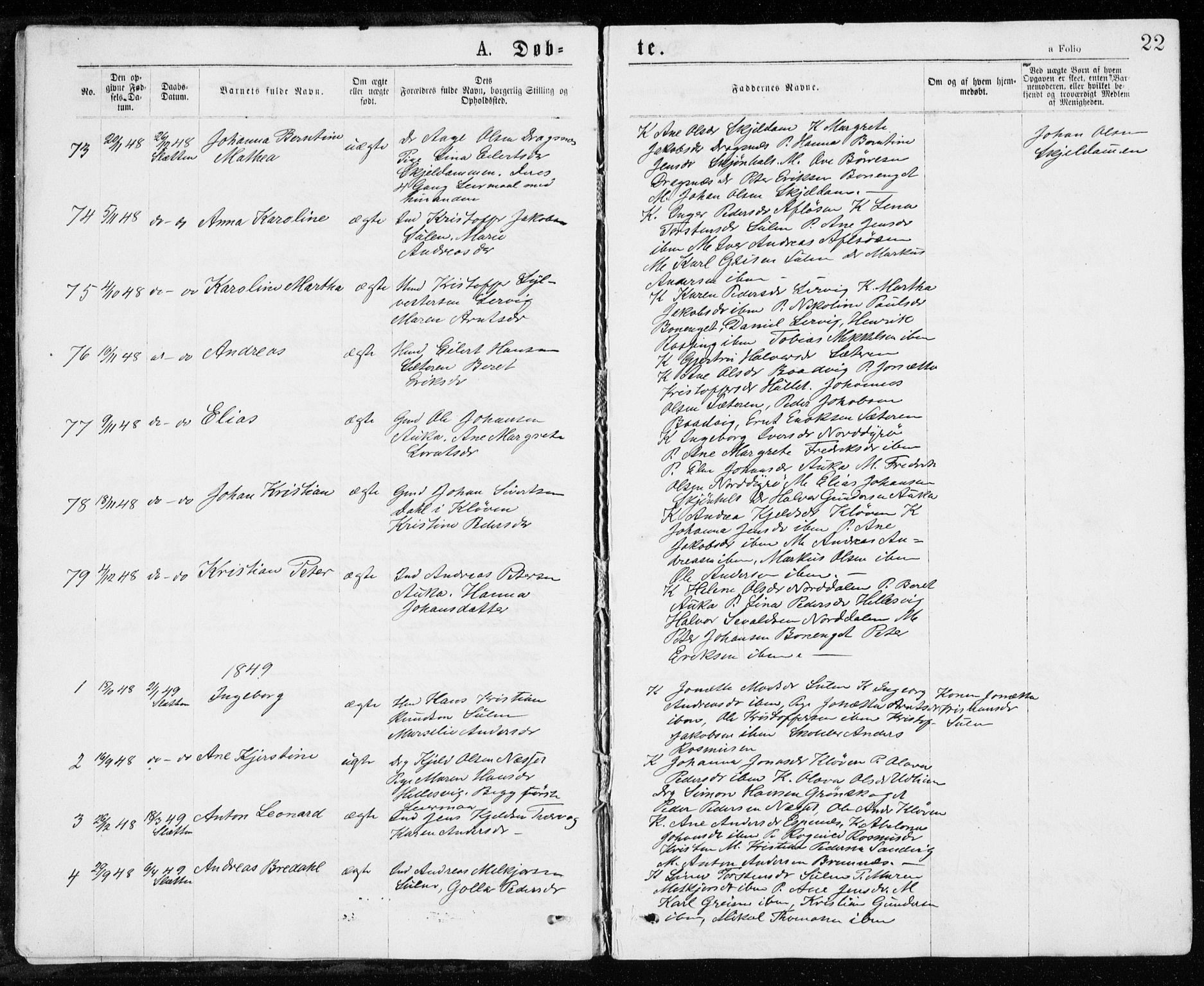 SAT, Ministerialprotokoller, klokkerbøker og fødselsregistre - Sør-Trøndelag, 640/L0576: Ministerialbok nr. 640A01, 1846-1876, s. 22