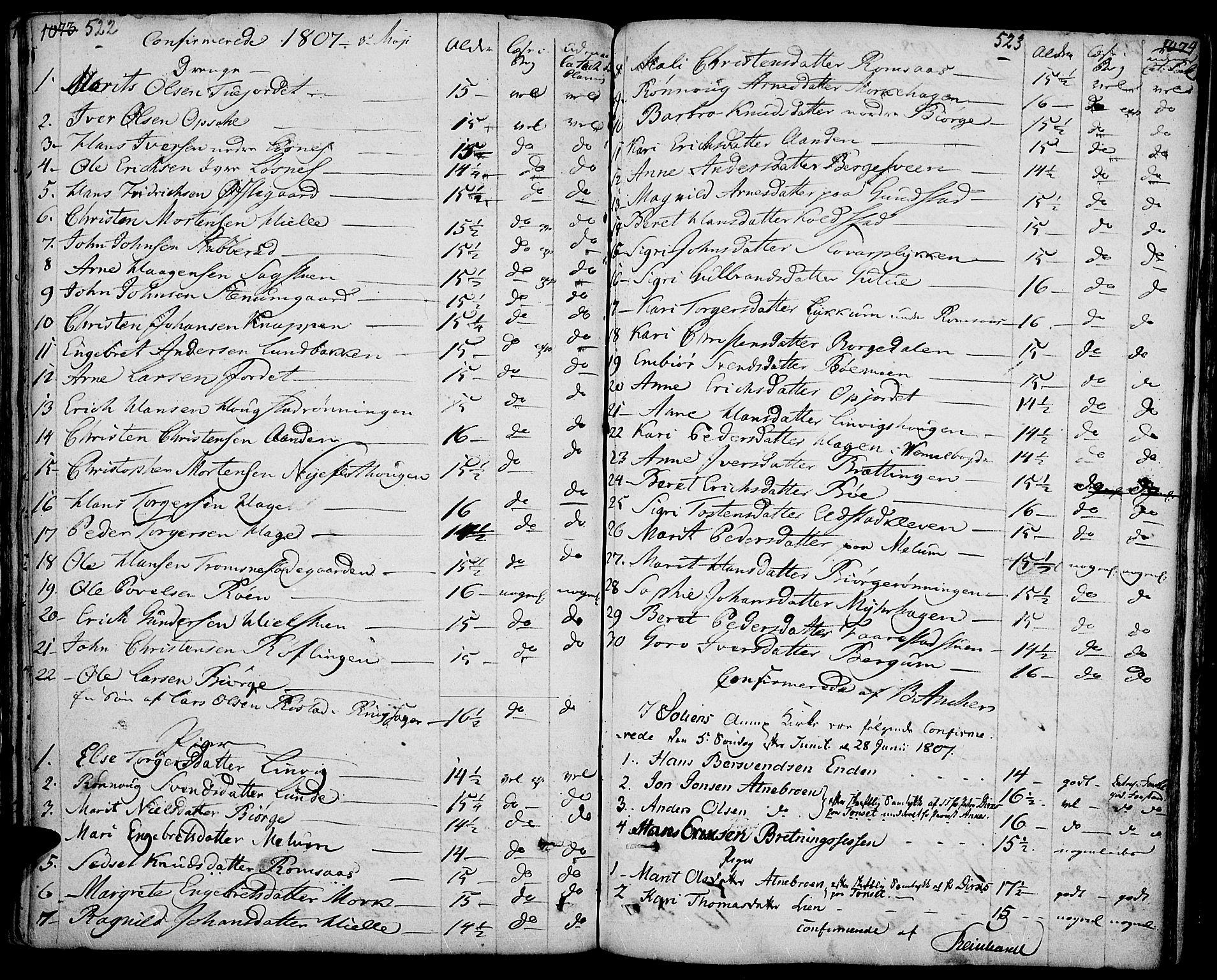 SAH, Ringebu prestekontor, Ministerialbok nr. 3, 1781-1820, s. 522-523