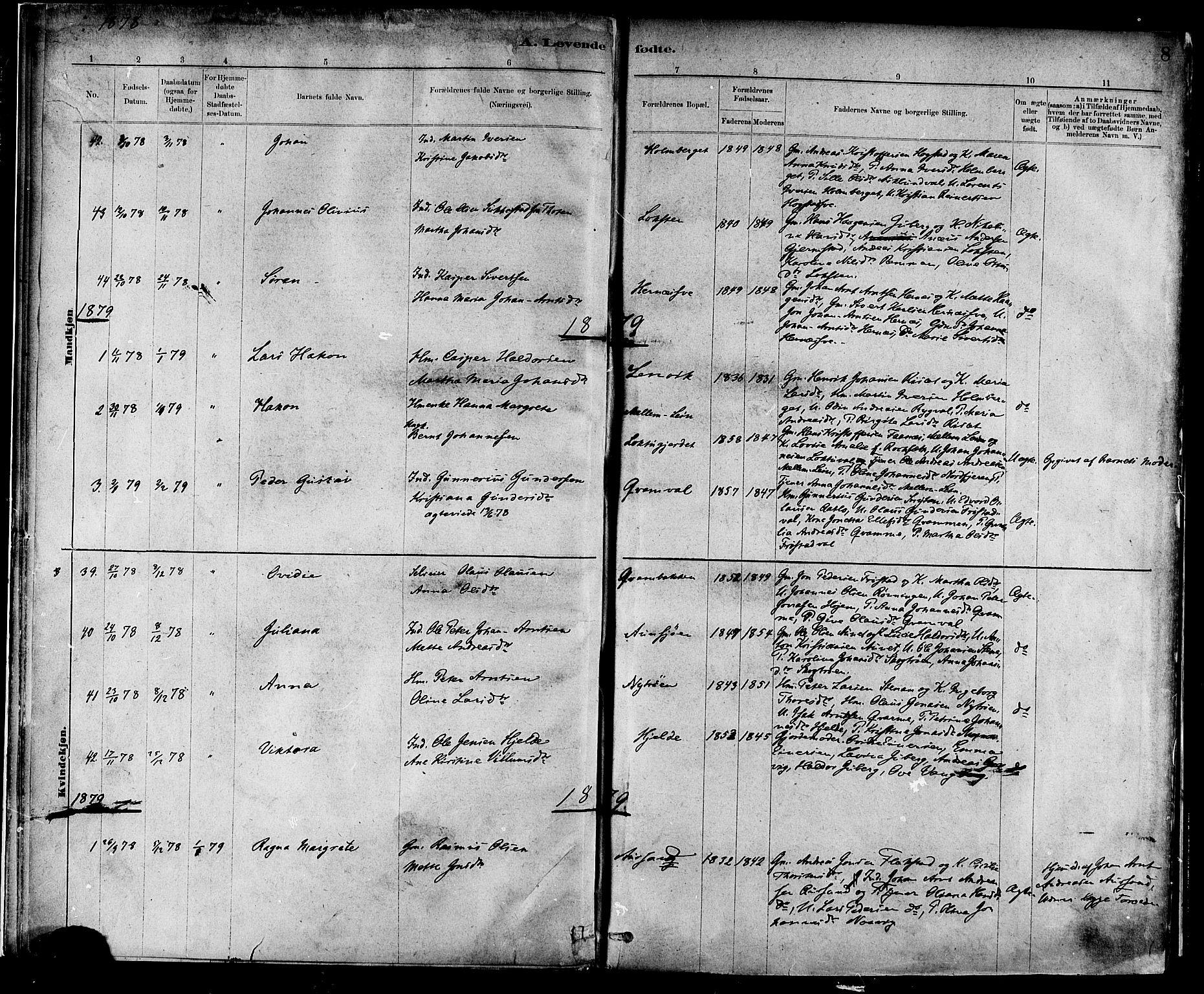 SAT, Ministerialprotokoller, klokkerbøker og fødselsregistre - Nord-Trøndelag, 713/L0120: Ministerialbok nr. 713A09, 1878-1887, s. 8