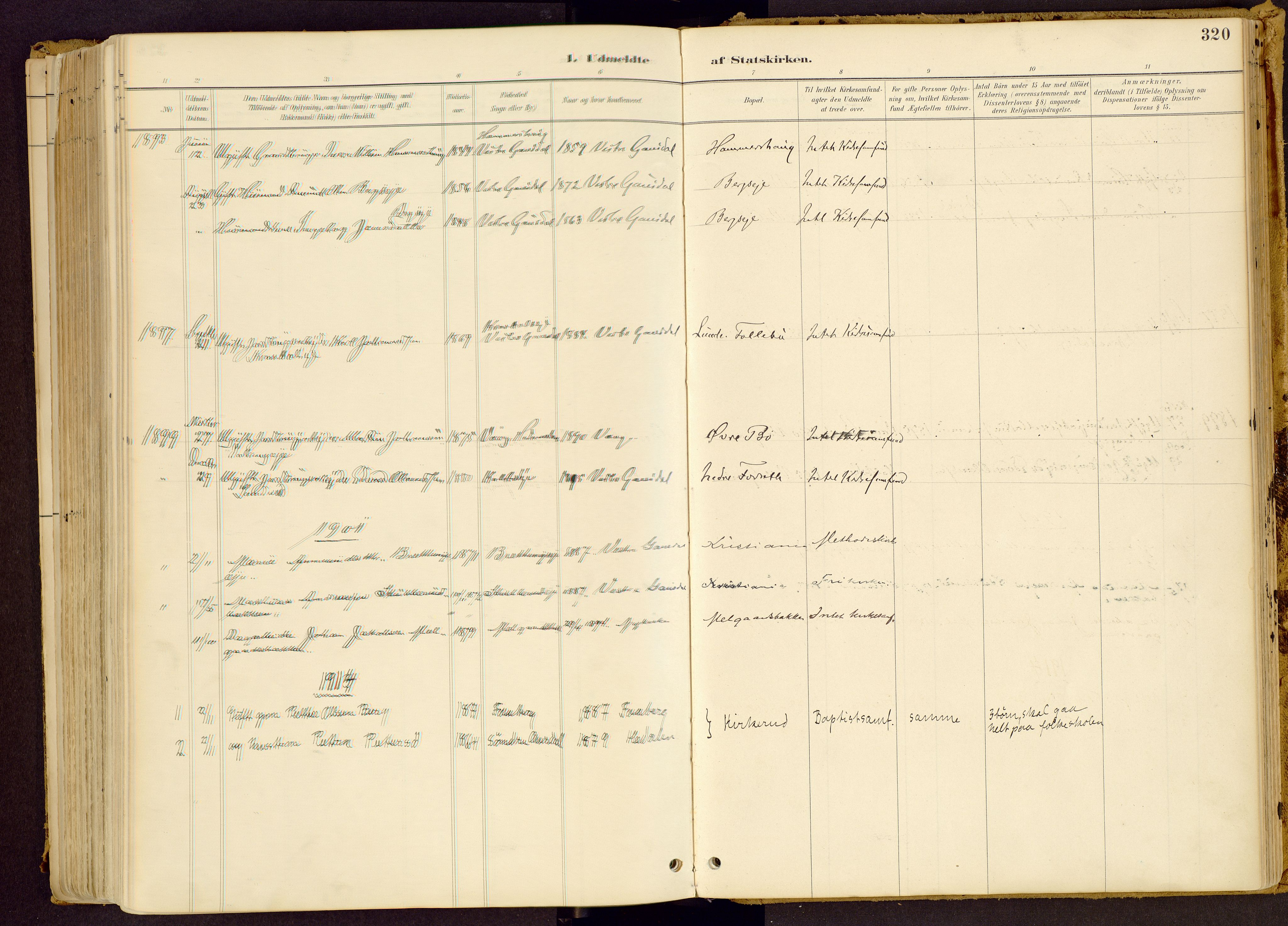 SAH, Vestre Gausdal prestekontor, Ministerialbok nr. 1, 1887-1914, s. 320