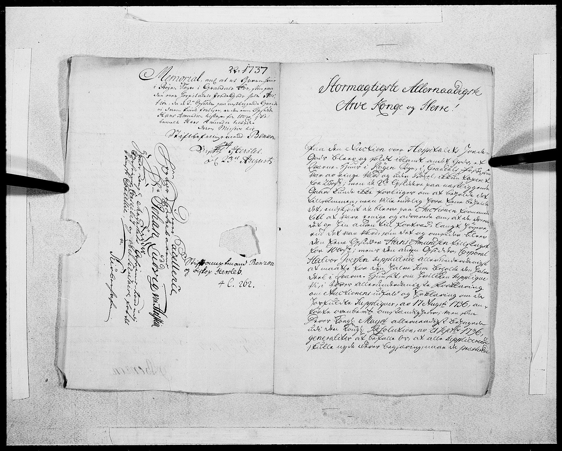 RA, Danske Kanselli 1572-1799, F/Fc/Fcc/Fcca/L0125: Norske innlegg 1572-1799, 1737, s. 180