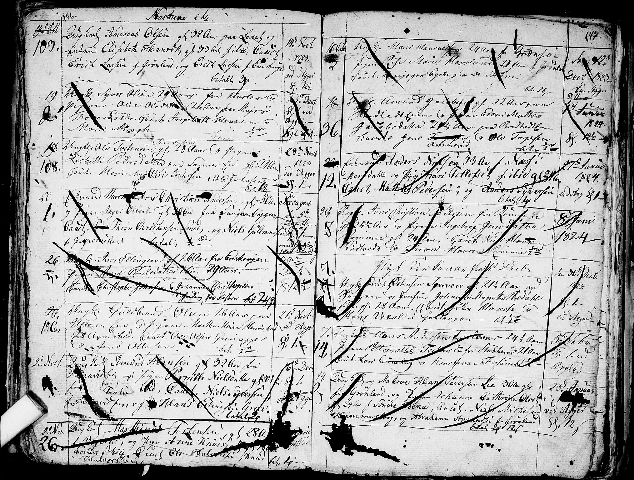 SAO, Aker prestekontor kirkebøker, G/L0001: Klokkerbok nr. 1, 1796-1826, s. 146-147