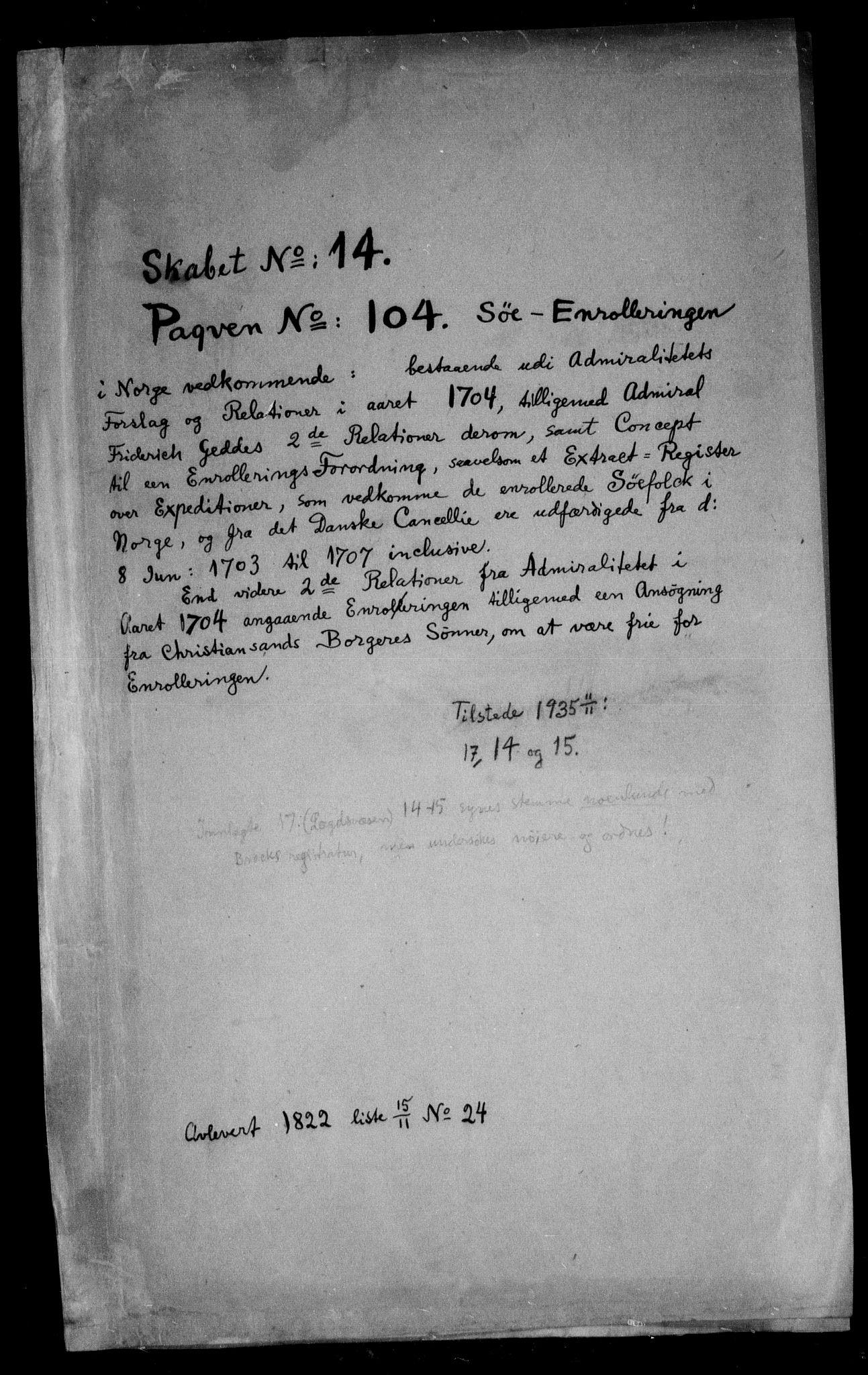 RA, Danske Kanselli, Skapsaker, F/L0058: Skap 14, pakke 104-111A, 1604-1720, s. 3