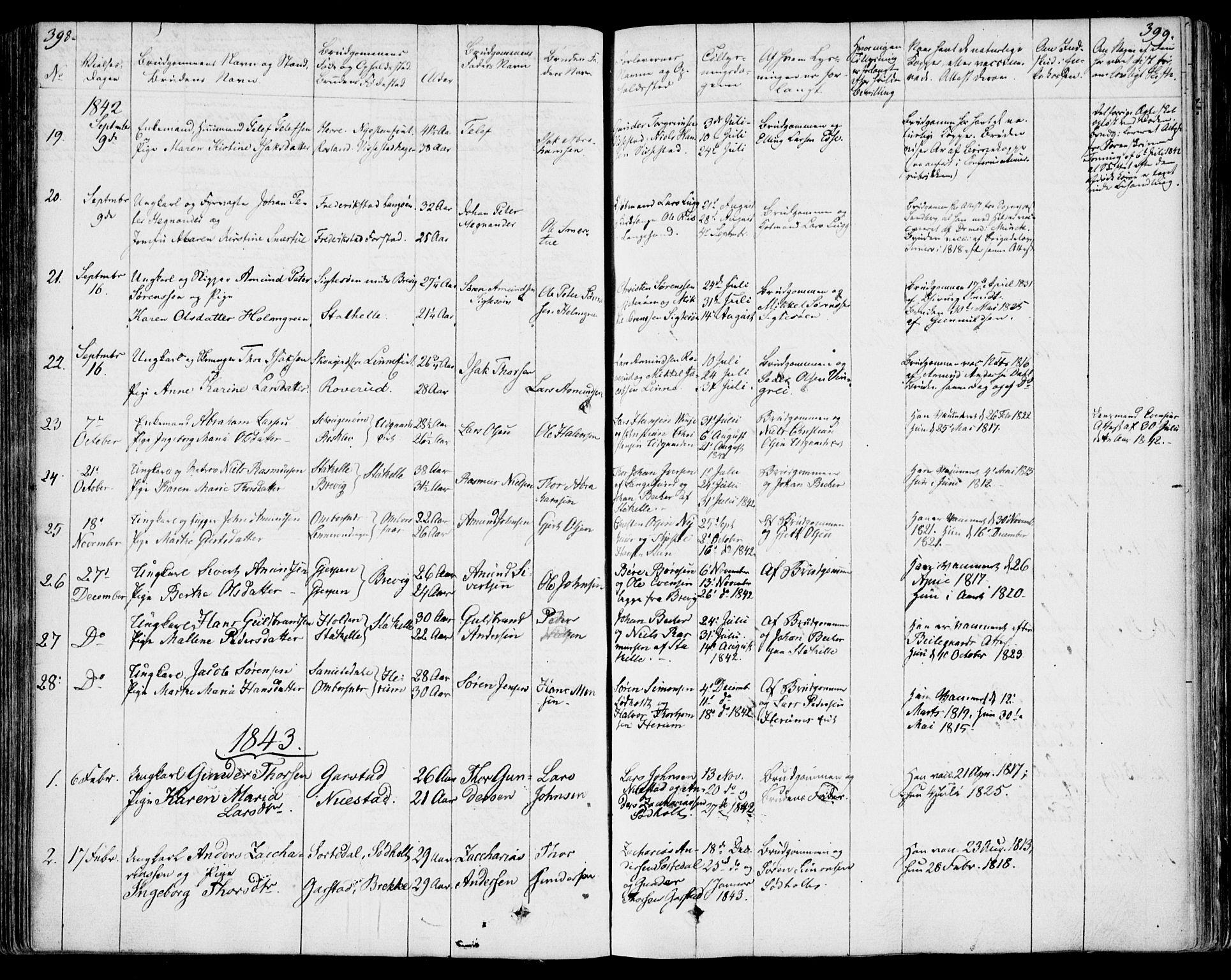 SAKO, Bamble kirkebøker, F/Fa/L0004: Ministerialbok nr. I 4, 1834-1853, s. 398-399