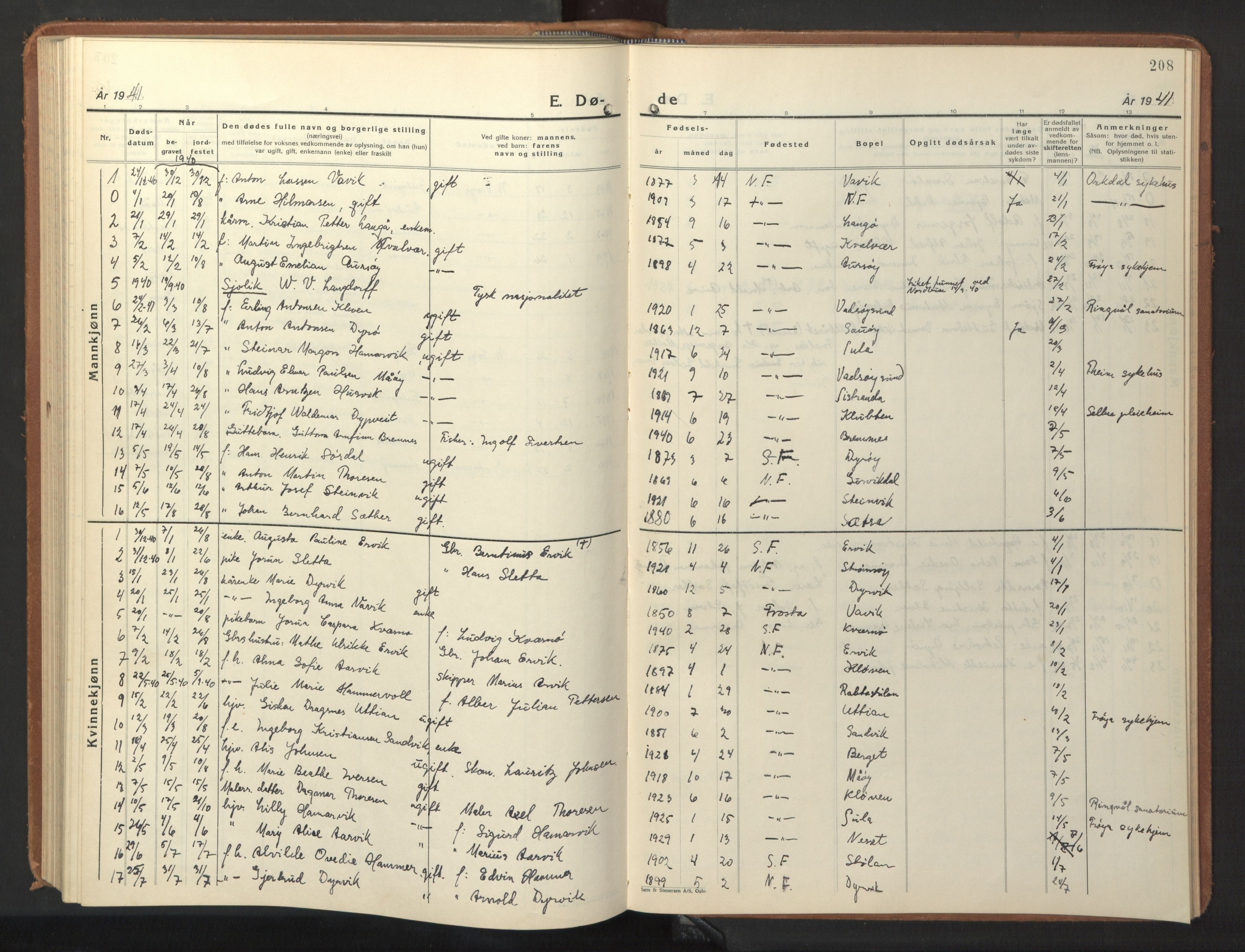 SAT, Ministerialprotokoller, klokkerbøker og fødselsregistre - Sør-Trøndelag, 640/L0590: Klokkerbok nr. 640C07, 1935-1948, s. 208