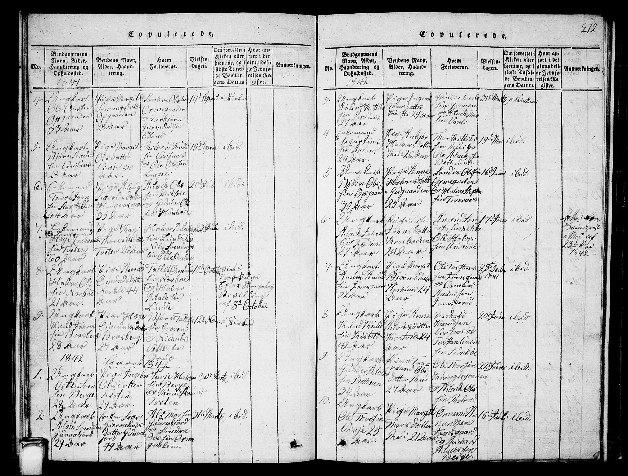 SAKO, Vinje kirkebøker, G/Ga/L0001: Klokkerbok nr. I 1, 1814-1843, s. 212
