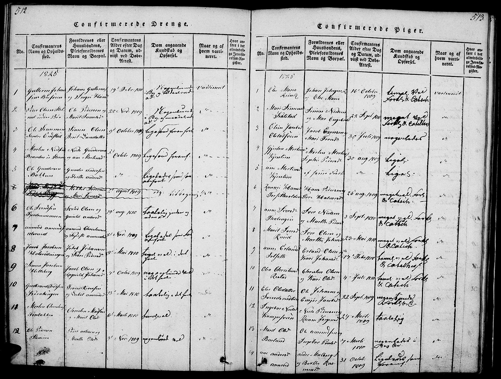SAH, Gausdal prestekontor, Ministerialbok nr. 5, 1817-1829, s. 512-513