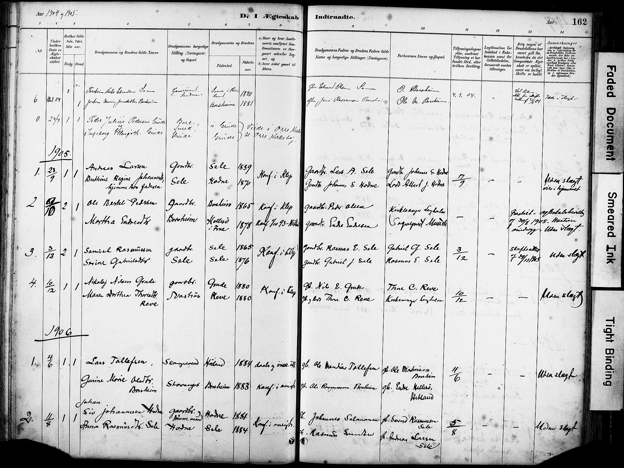 SAST, Klepp sokneprestkontor, 30BA/L0008: Ministerialbok nr. A 9, 1886-1919, s. 162