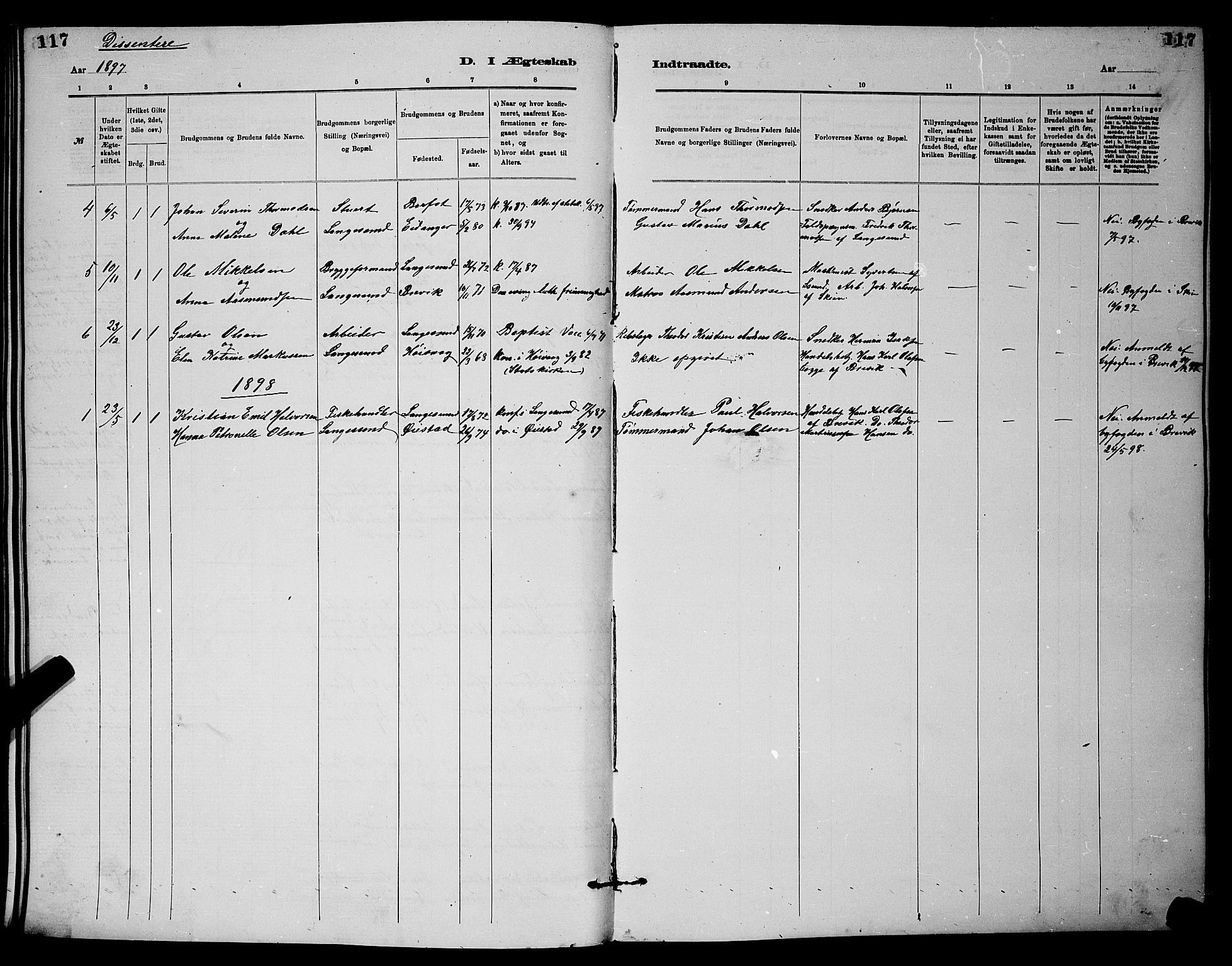 SAKO, Langesund kirkebøker, G/Ga/L0005: Klokkerbok nr. 5, 1884-1898, s. 117