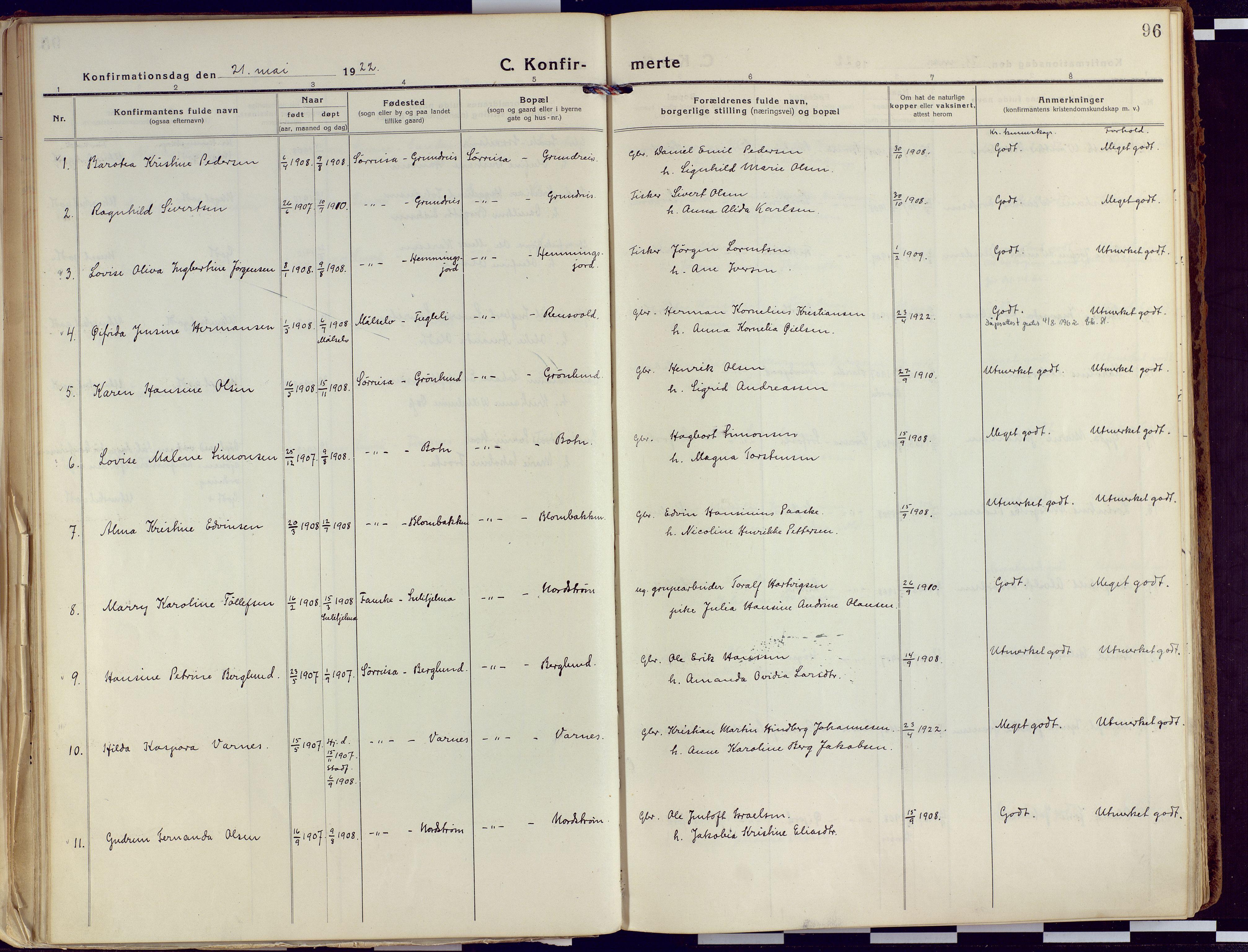 SATØ, Tranøy sokneprestkontor, I/Ia/Iaa/L0015kirke: Ministerialbok nr. 15, 1919-1928, s. 96