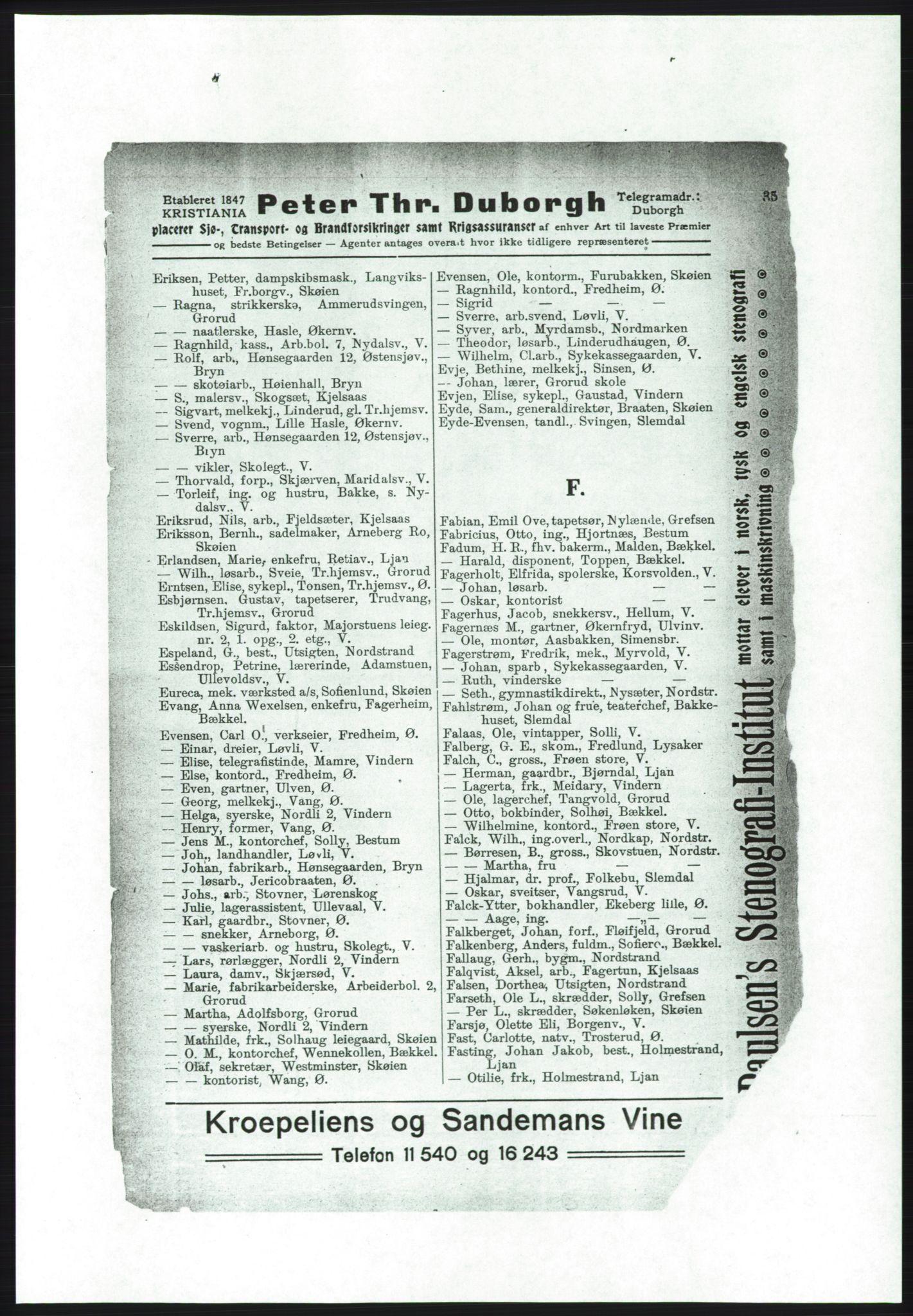 RA, Aker adressebok/adressekalender (publikasjon)*, 1916-1917, s. 35