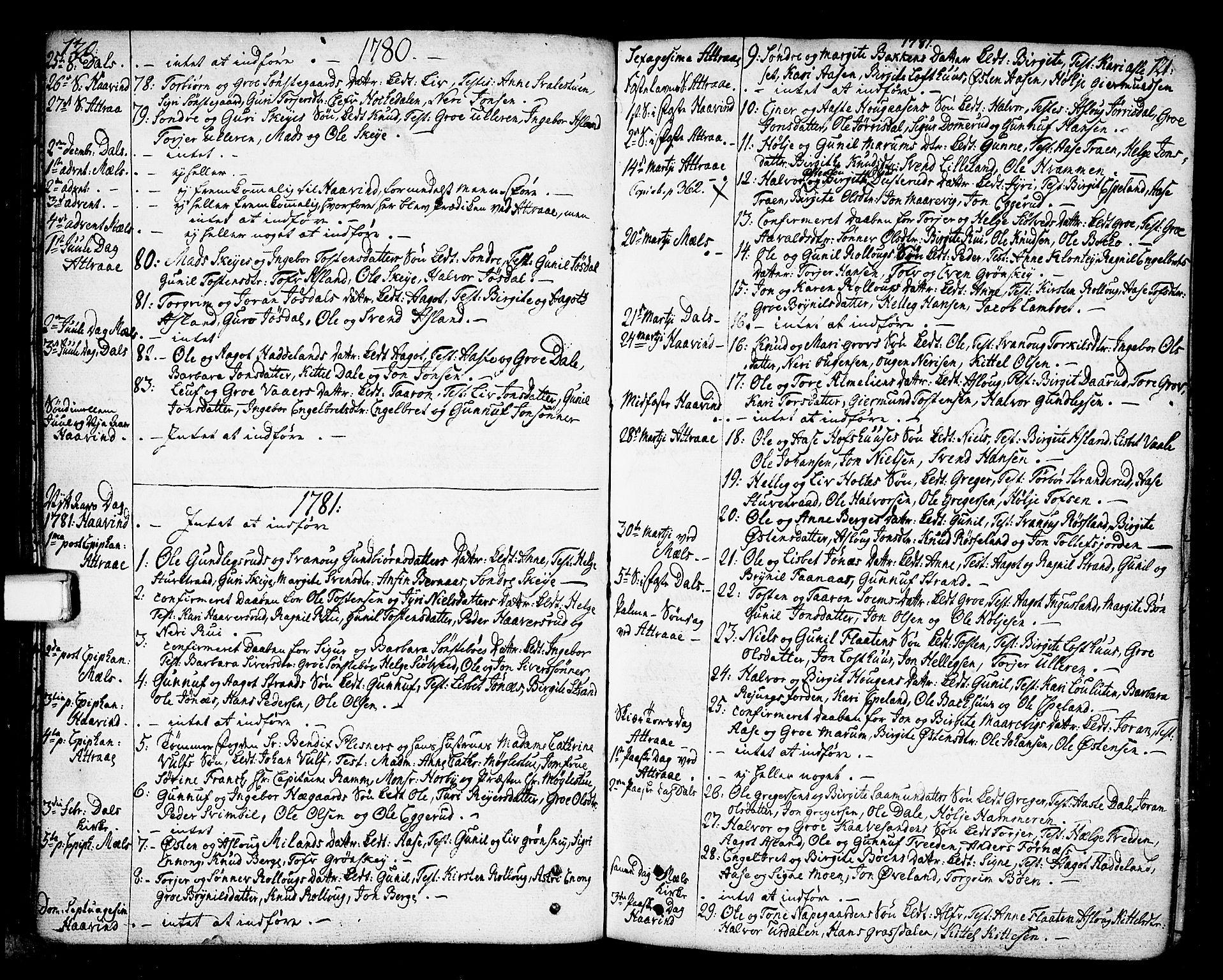 SAKO, Tinn kirkebøker, F/Fa/L0002: Ministerialbok nr. I 2, 1757-1810, s. 120-121