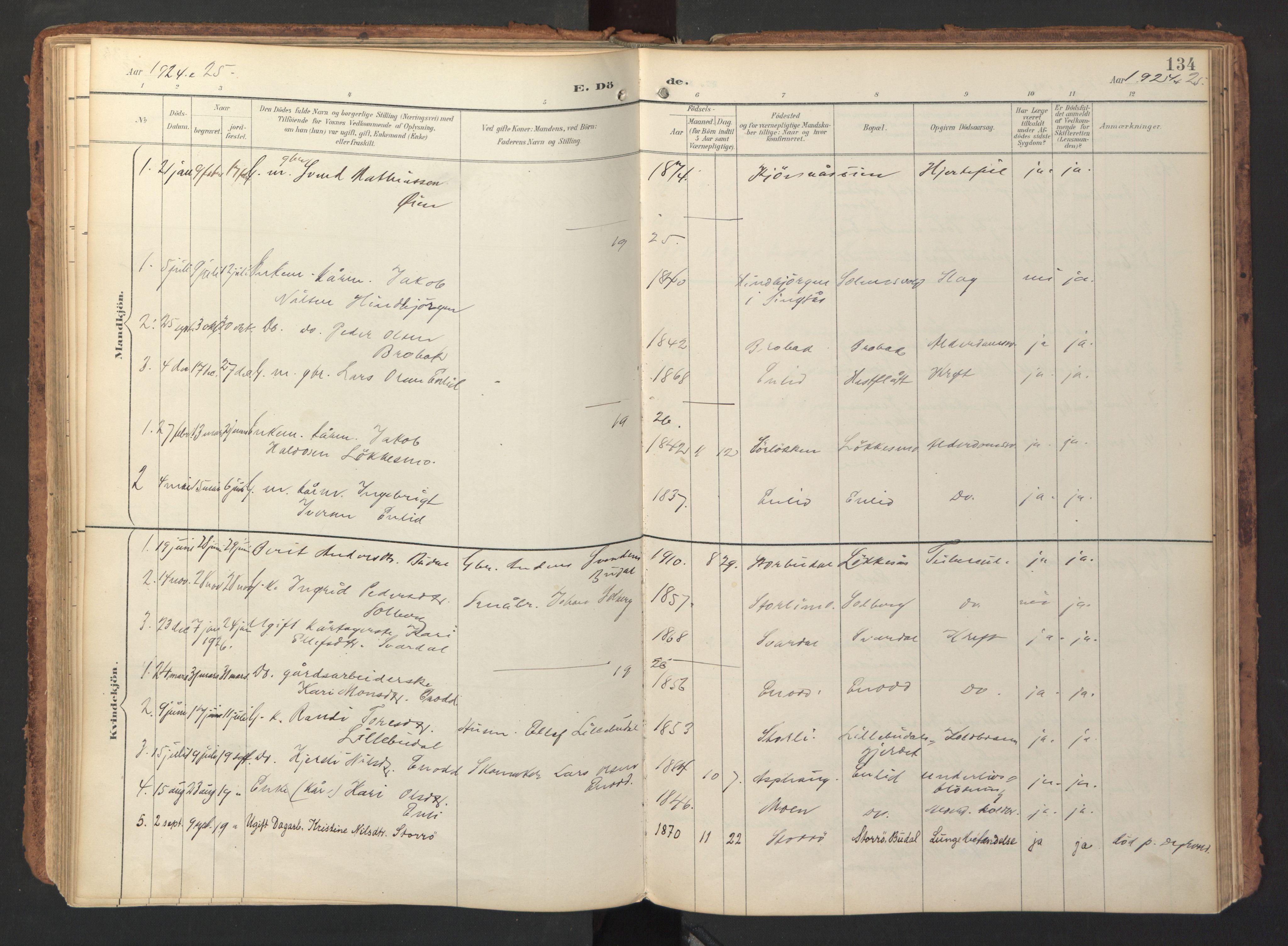 SAT, Ministerialprotokoller, klokkerbøker og fødselsregistre - Sør-Trøndelag, 690/L1050: Ministerialbok nr. 690A01, 1889-1929, s. 134