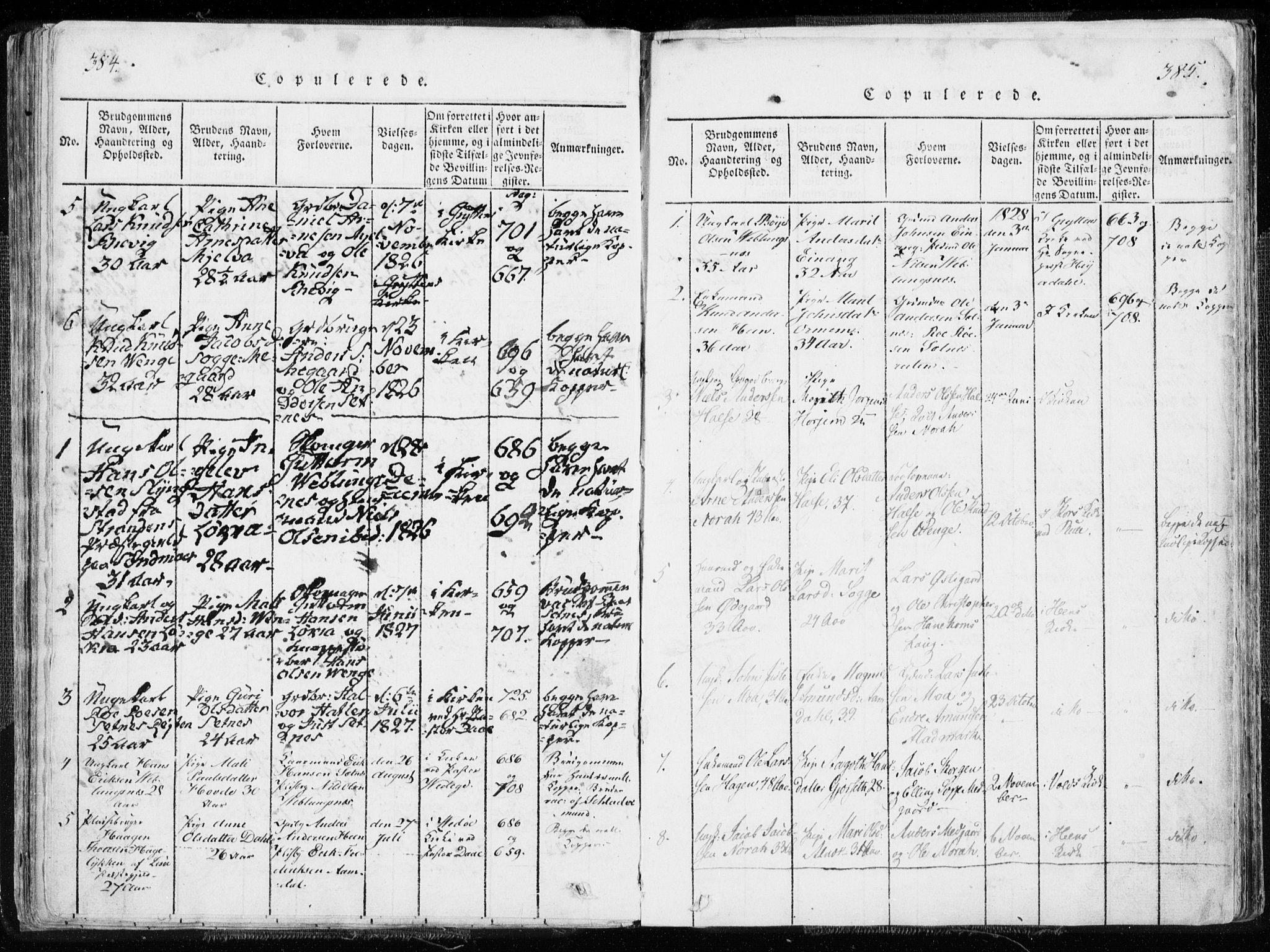 SAT, Ministerialprotokoller, klokkerbøker og fødselsregistre - Møre og Romsdal, 544/L0571: Ministerialbok nr. 544A04, 1818-1853, s. 384-385