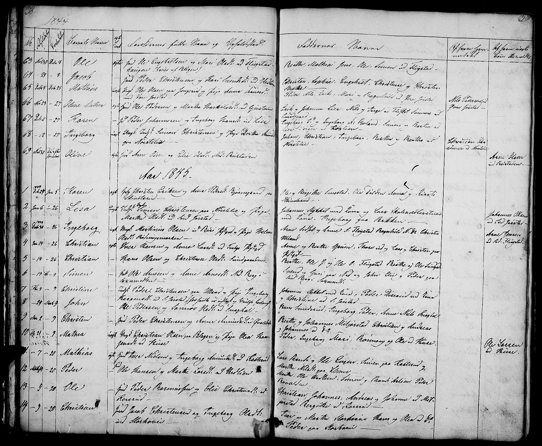 SAH, Fåberg prestekontor, Klokkerbok nr. 5, 1837-1864, s. 38-39
