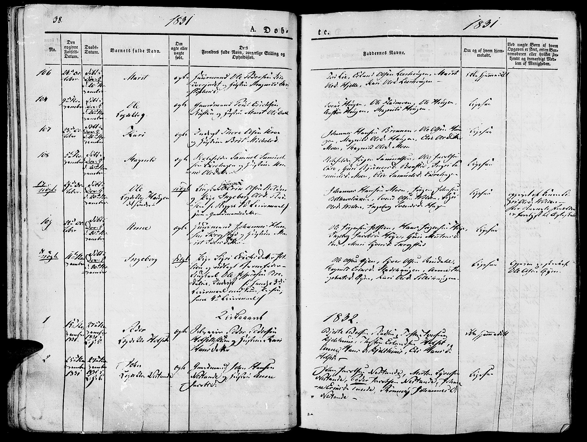SAH, Lesja prestekontor, Ministerialbok nr. 5, 1830-1842, s. 38