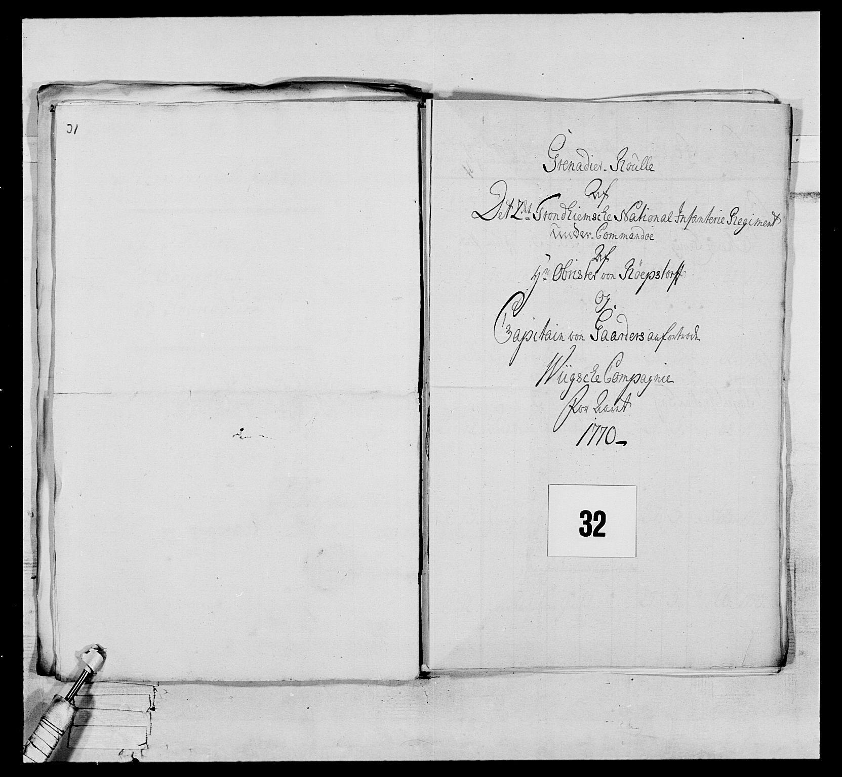 RA, Generalitets- og kommissariatskollegiet, Det kongelige norske kommissariatskollegium, E/Eh/L0076: 2. Trondheimske nasjonale infanteriregiment, 1766-1773, s. 93