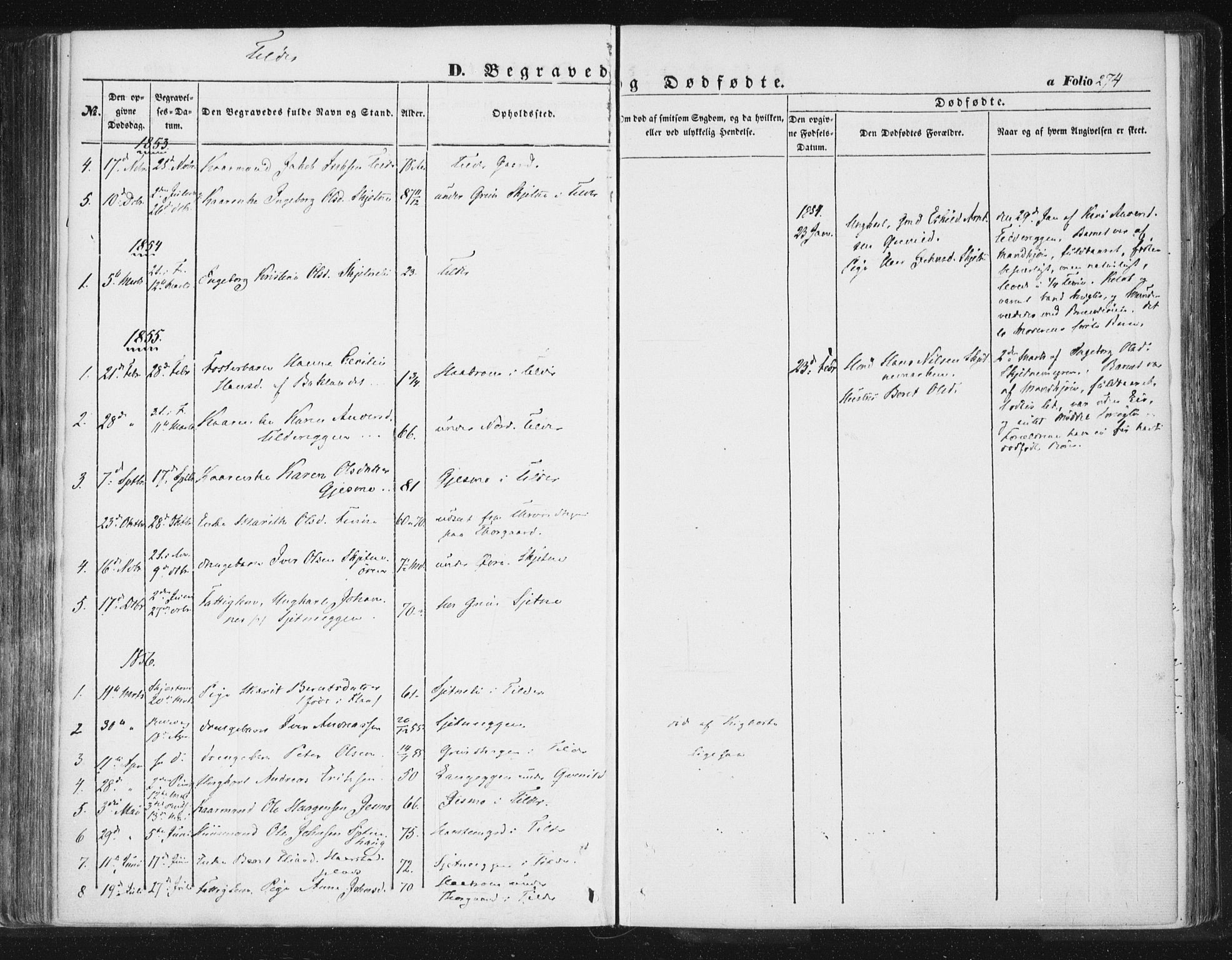 SAT, Ministerialprotokoller, klokkerbøker og fødselsregistre - Sør-Trøndelag, 618/L0441: Ministerialbok nr. 618A05, 1843-1862, s. 274