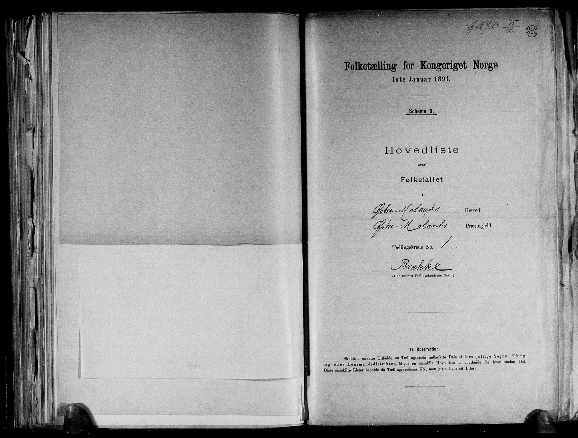 RA, Folketelling 1891 for 0918 Austre Moland herred, 1891, s. 6