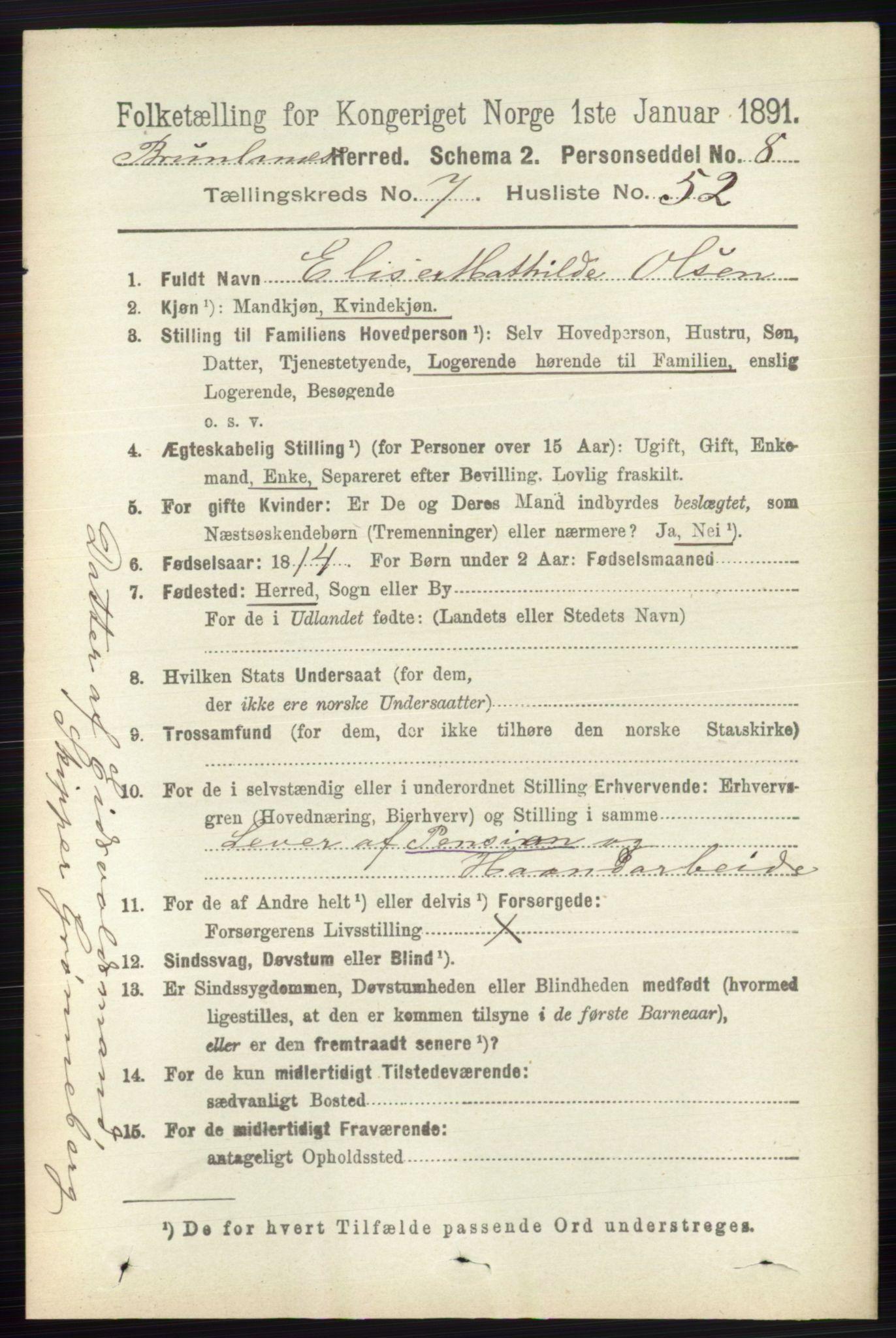 RA, Folketelling 1891 for 0726 Brunlanes herred, 1891, s. 3302