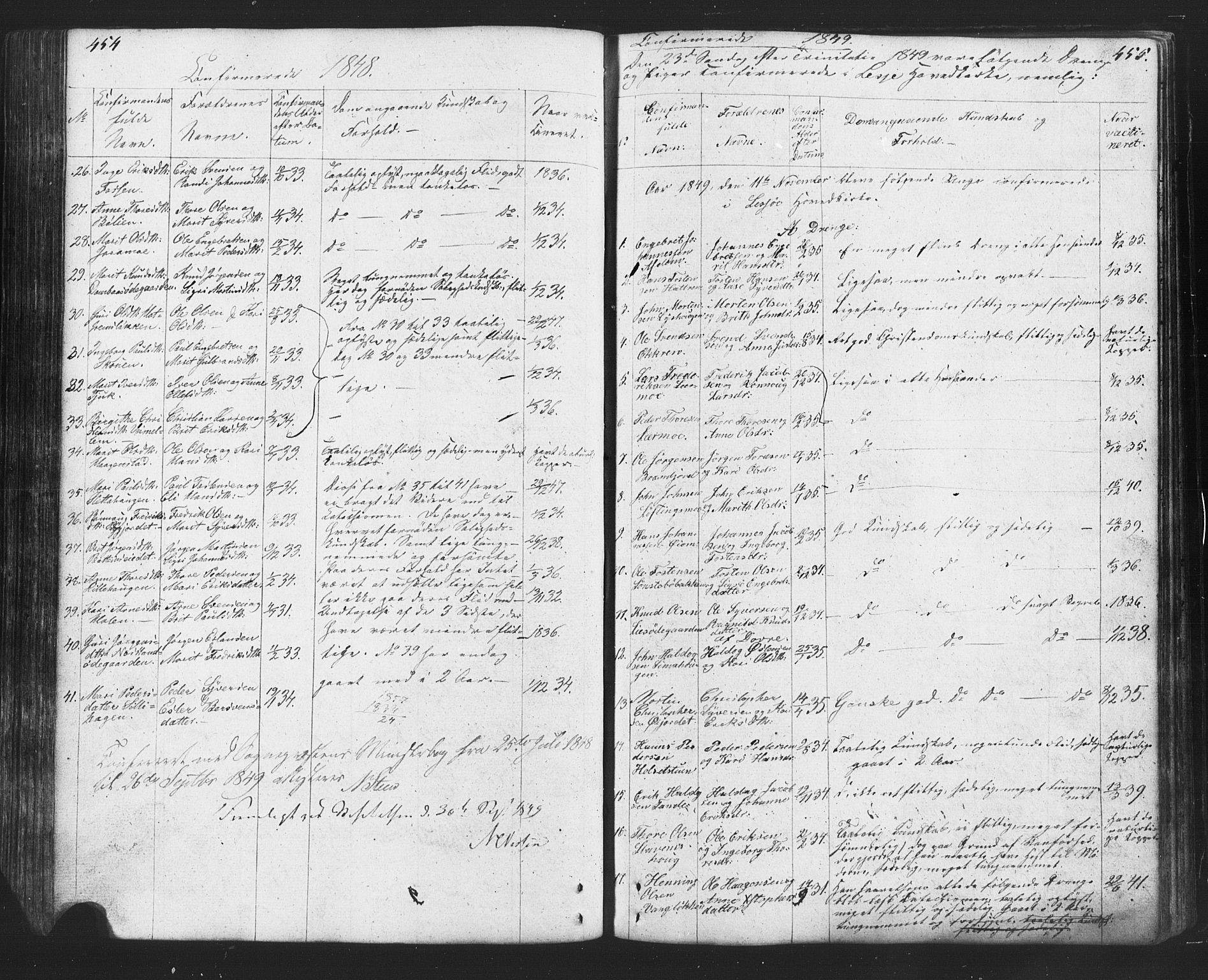 SAH, Lesja prestekontor, Klokkerbok nr. 2, 1832-1850, s. 454-455