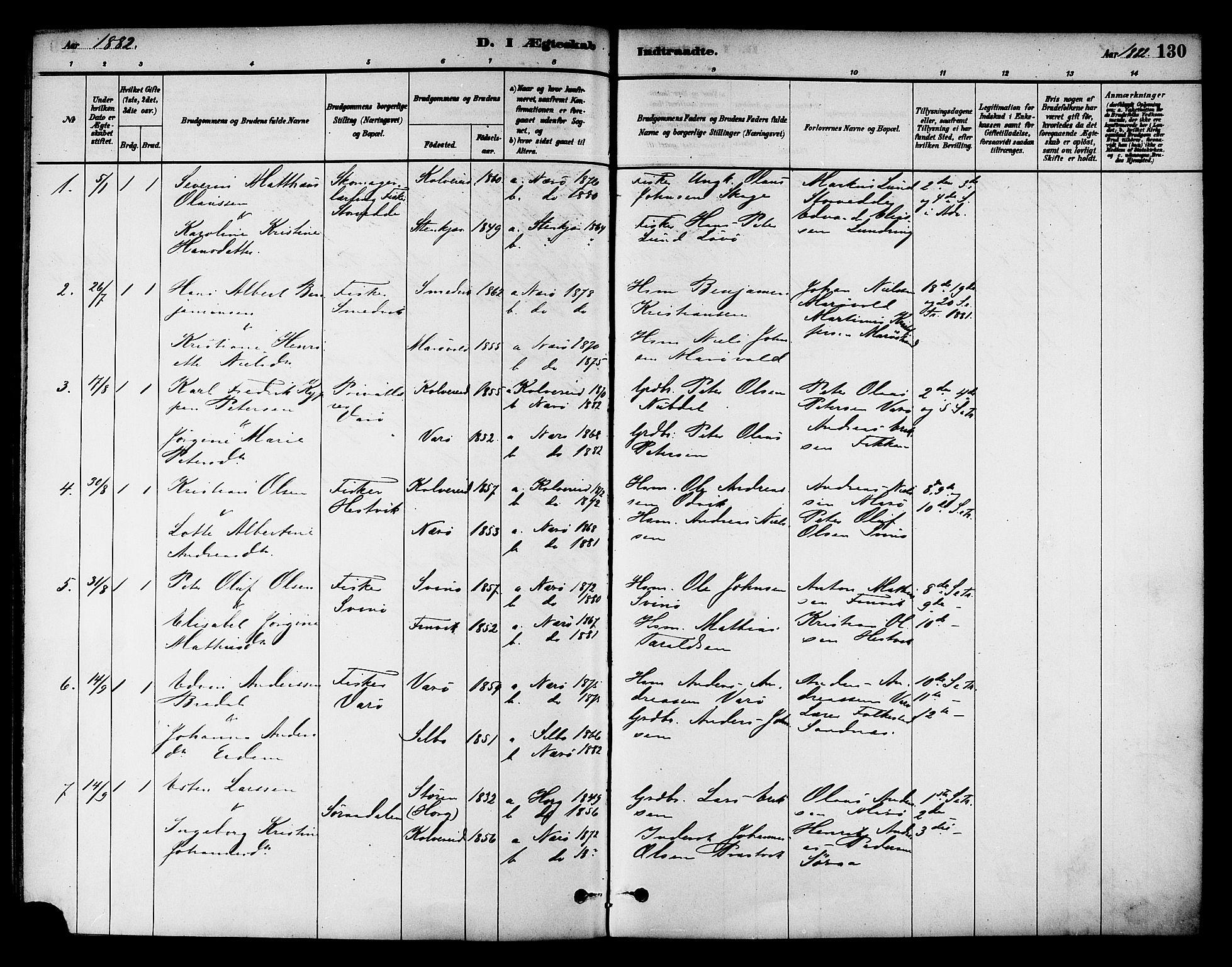SAT, Ministerialprotokoller, klokkerbøker og fødselsregistre - Nord-Trøndelag, 784/L0672: Ministerialbok nr. 784A07, 1880-1887, s. 130
