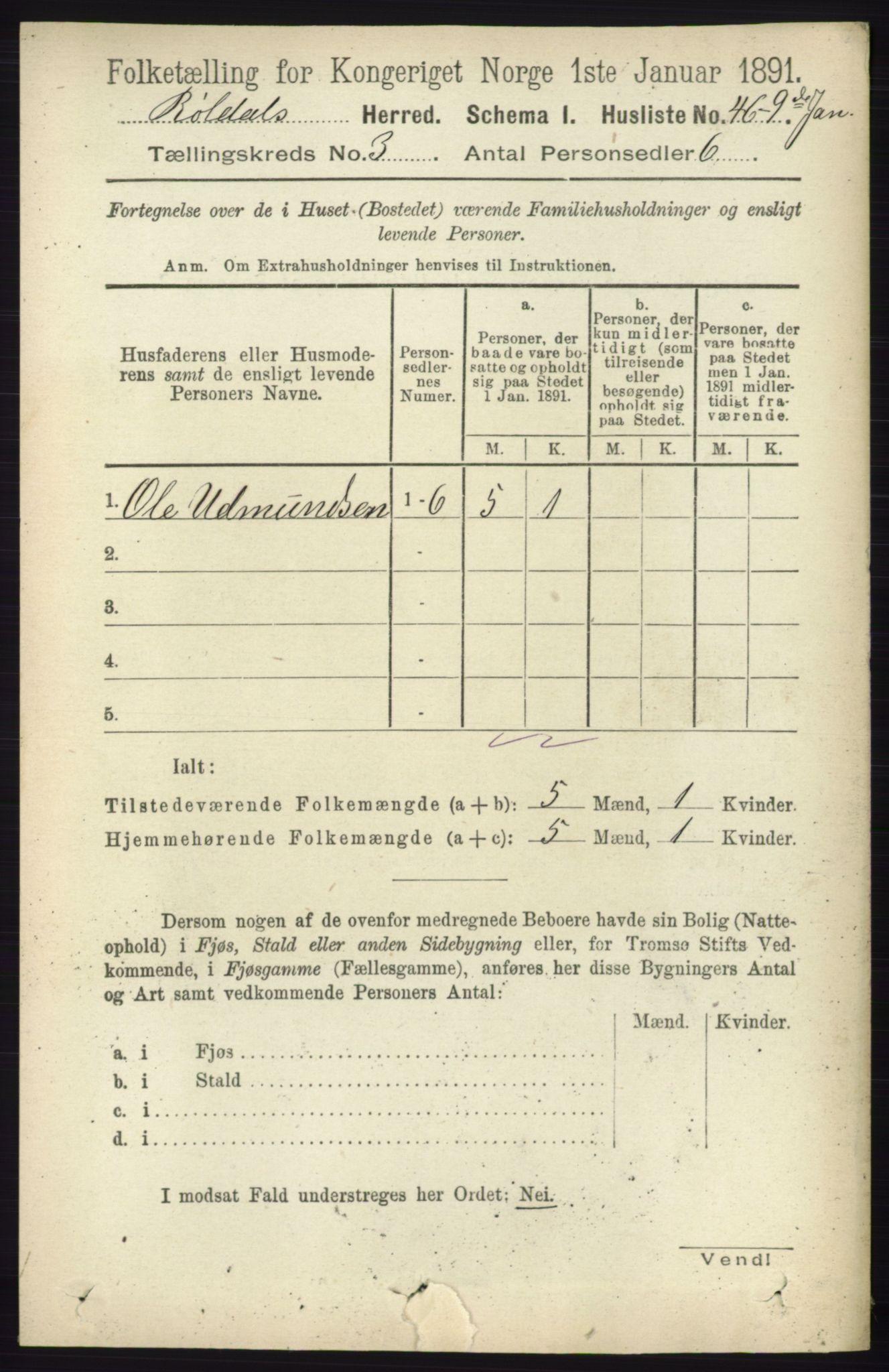 RA, Folketelling 1891 for 1229 Røldal herred, 1891, s. 897