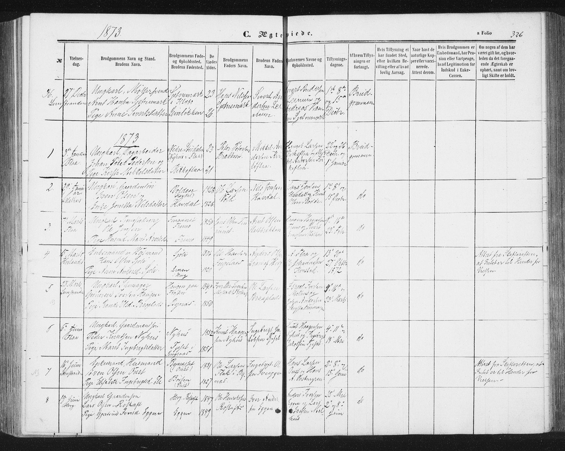 SAT, Ministerialprotokoller, klokkerbøker og fødselsregistre - Sør-Trøndelag, 691/L1077: Ministerialbok nr. 691A09, 1862-1873, s. 326
